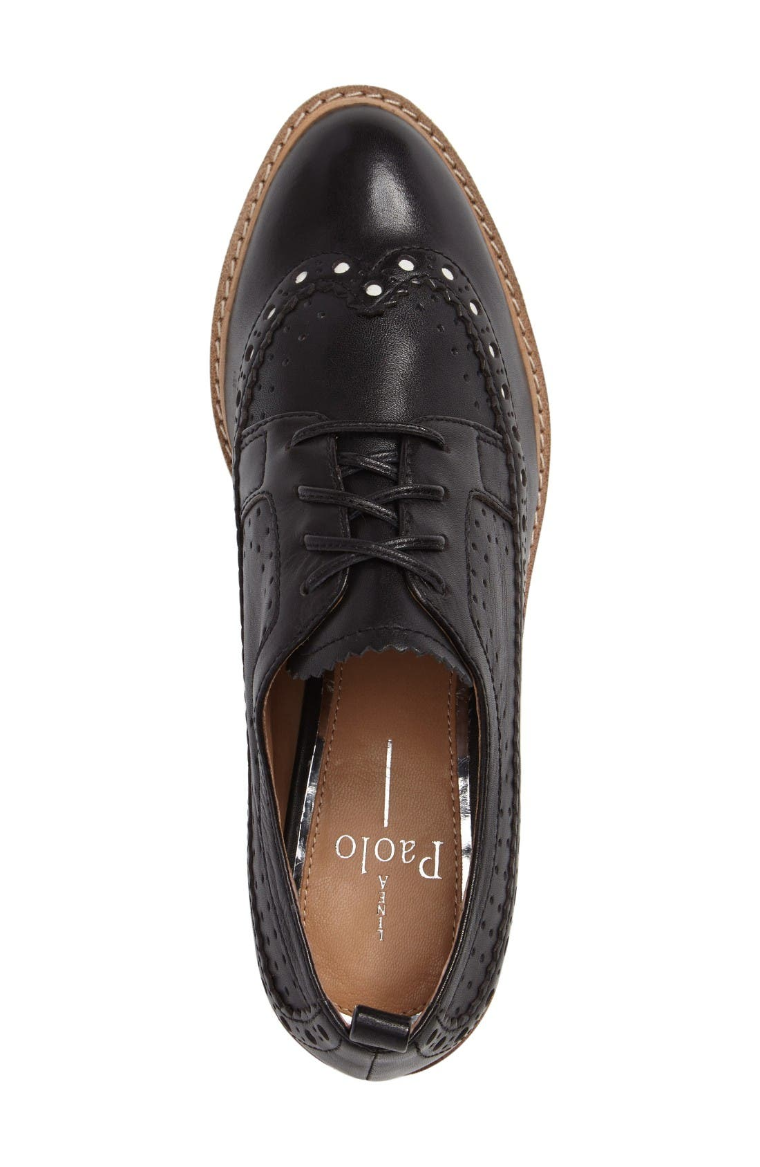Malti Platform Wedge Oxford,                             Alternate thumbnail 3, color,                             Black Leather