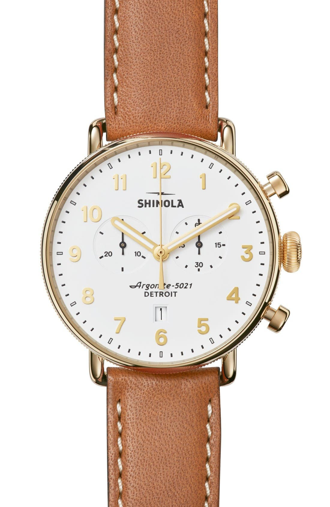 The Canfield Chrono Leather Strap Watch, 43mm,                         Main,                         color, Tan/ White/ Gold