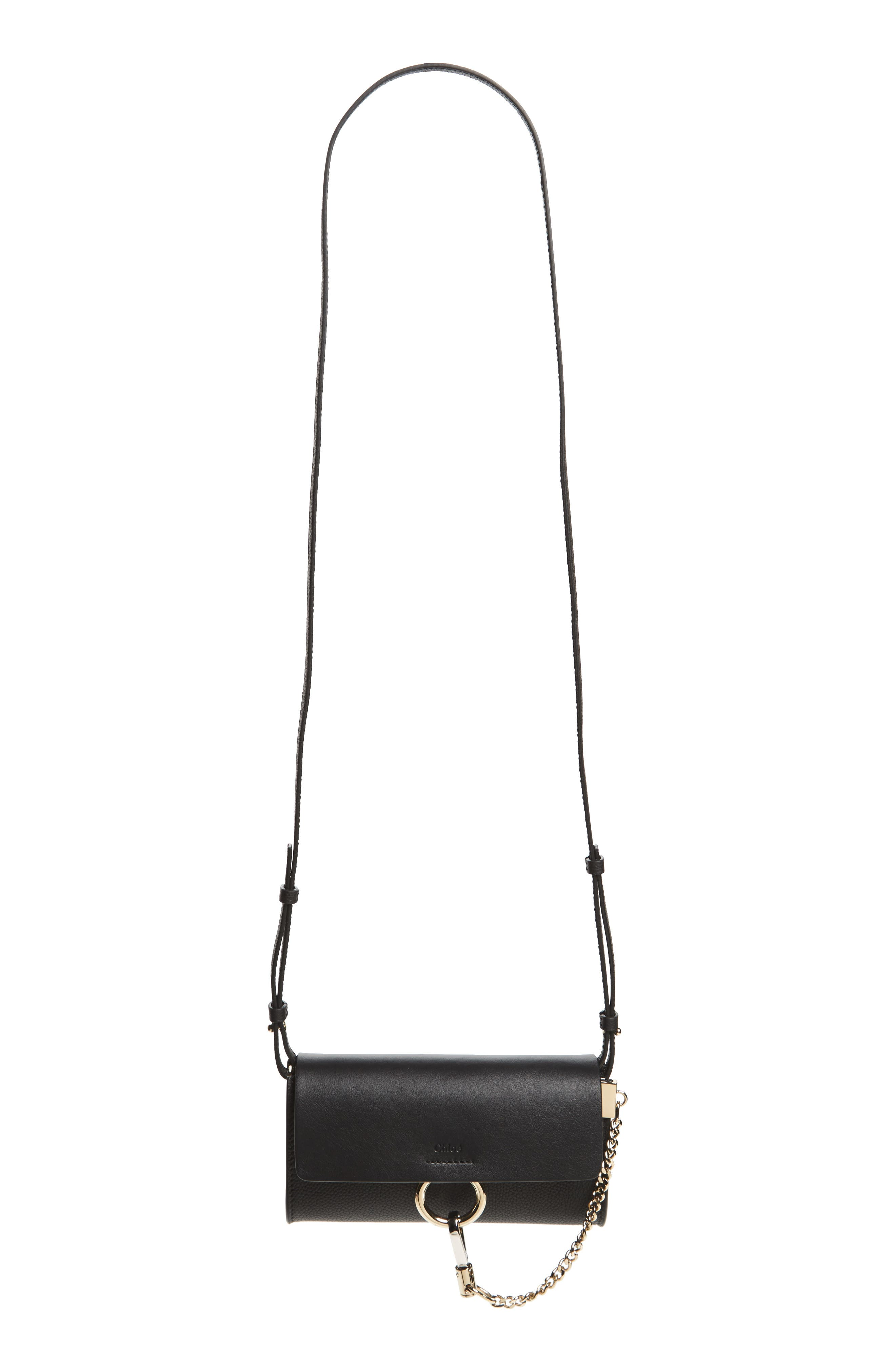 Main Image - Chloé Faye Leather Wallet on a Strap