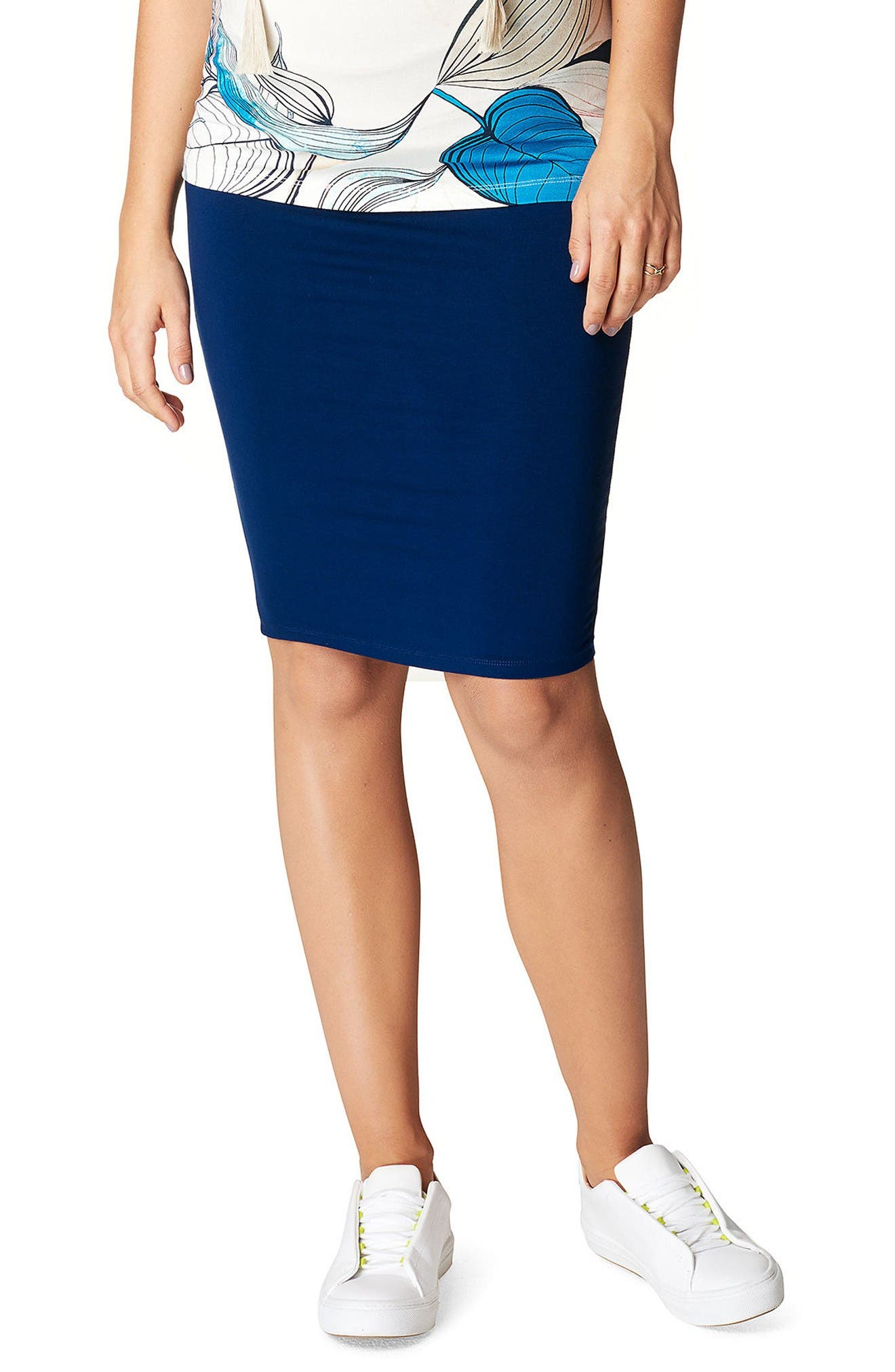 Vida Maternity Skirt,                         Main,                         color, Midnight Blue