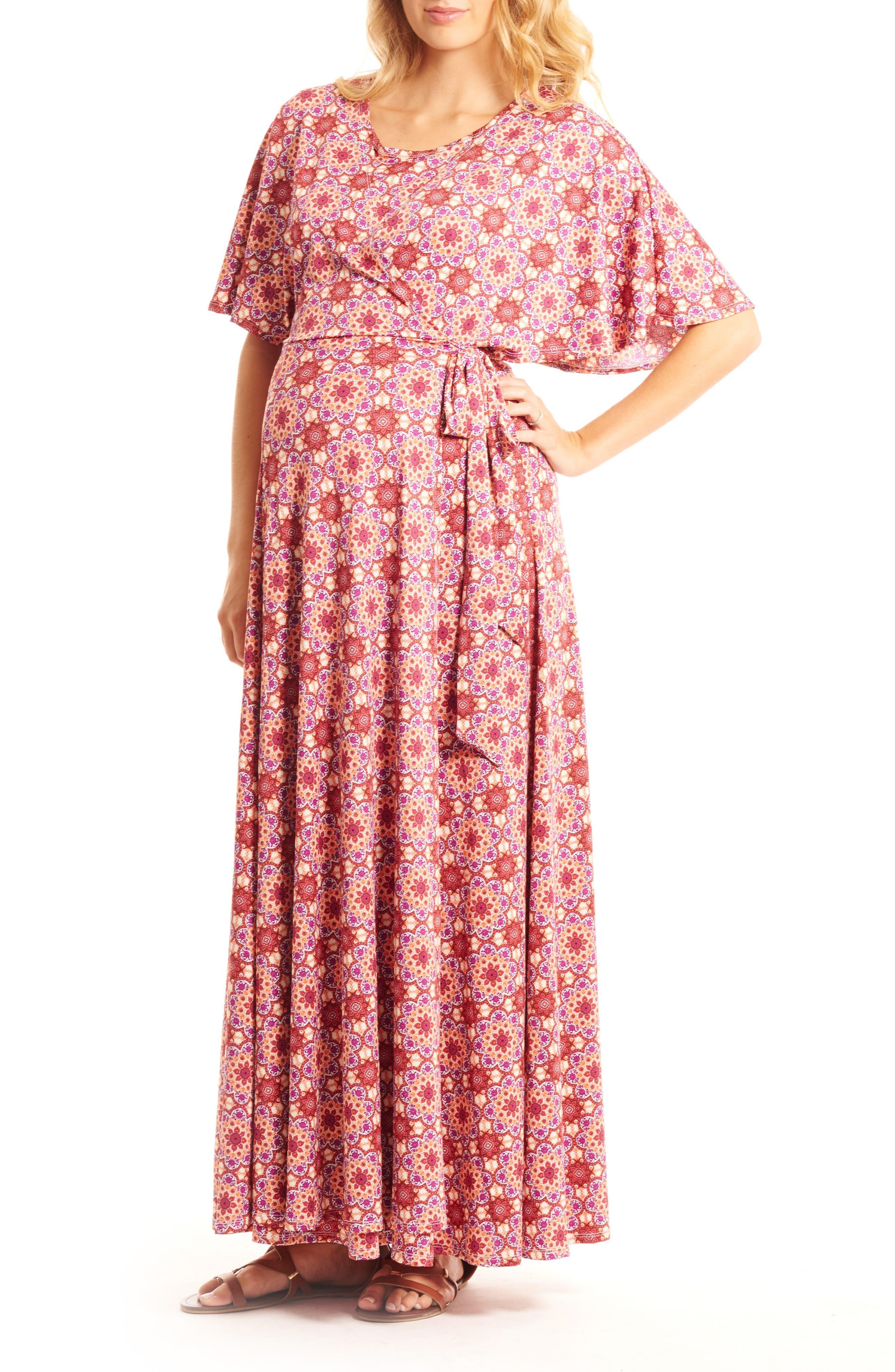 Asa Maternity/Nursing Maxi Wrap Dress,                             Main thumbnail 1, color,                             Sangria