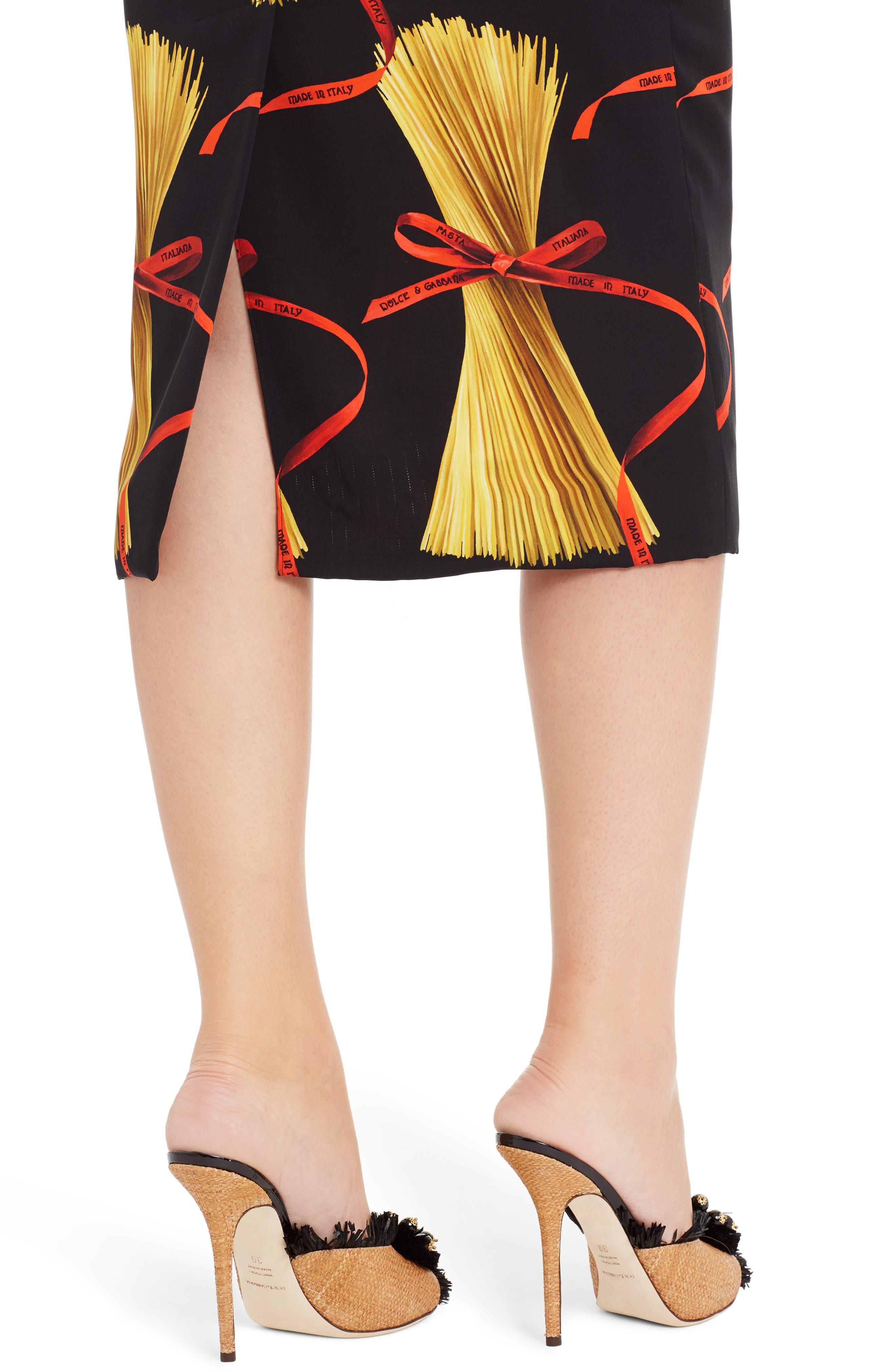 Alternate Image 6  - Dolce&Gabbana Pasta Print Stretch Silk Dress