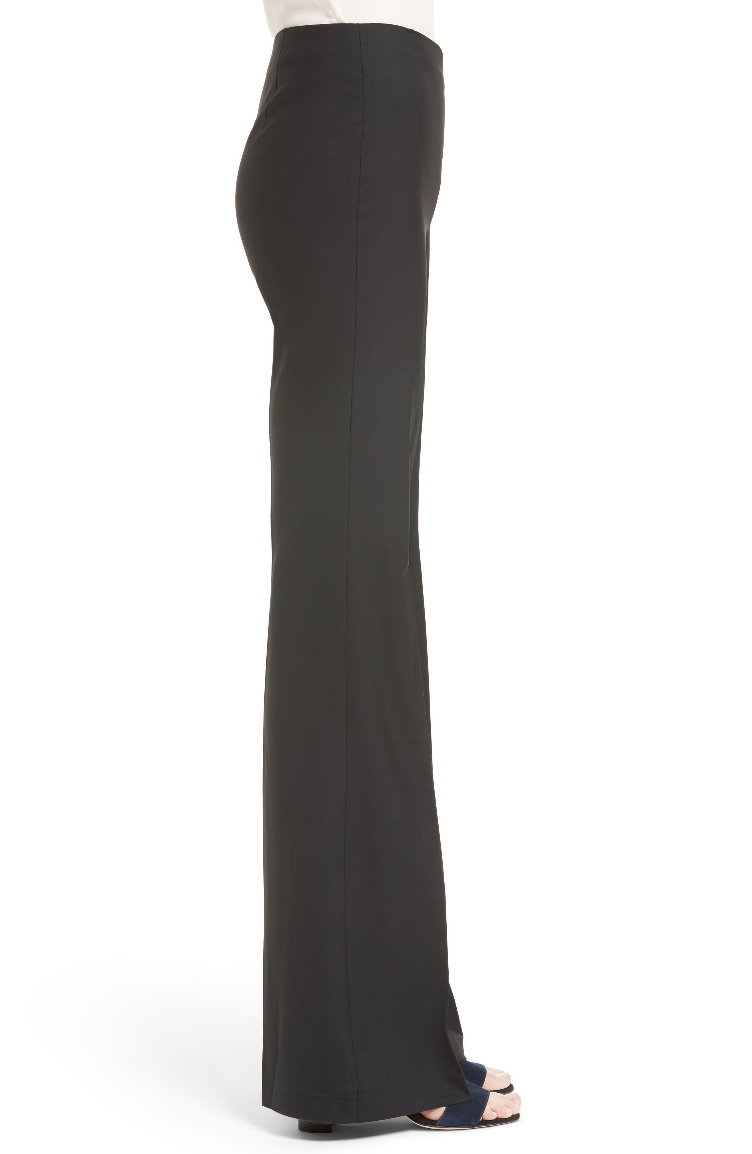 Demitria Flare Leg Good Wool Suit Pants,                             Alternate thumbnail 3, color,                             Black
