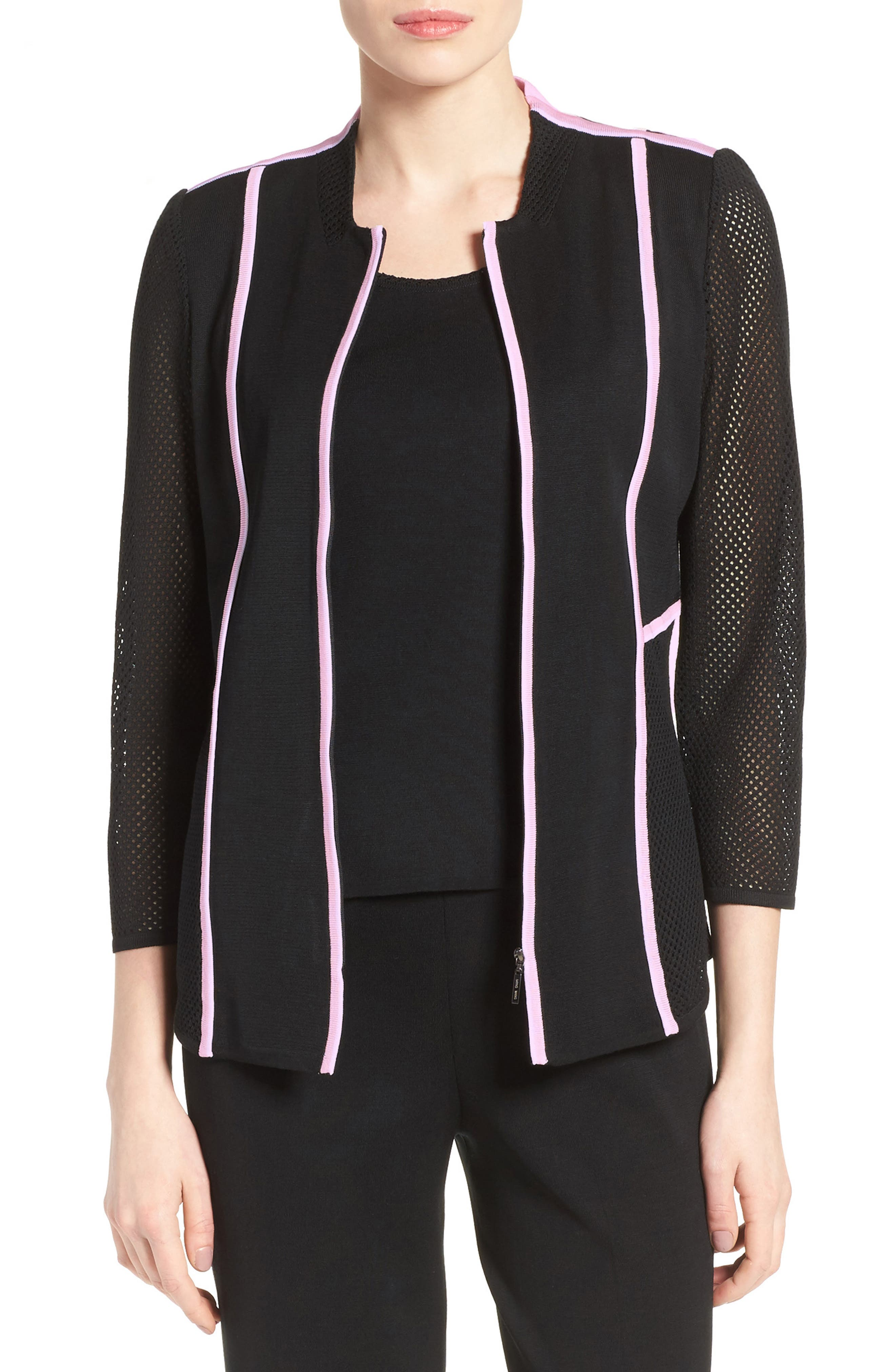 MING WANG Piped Mesh Knit Zip Front Jacket