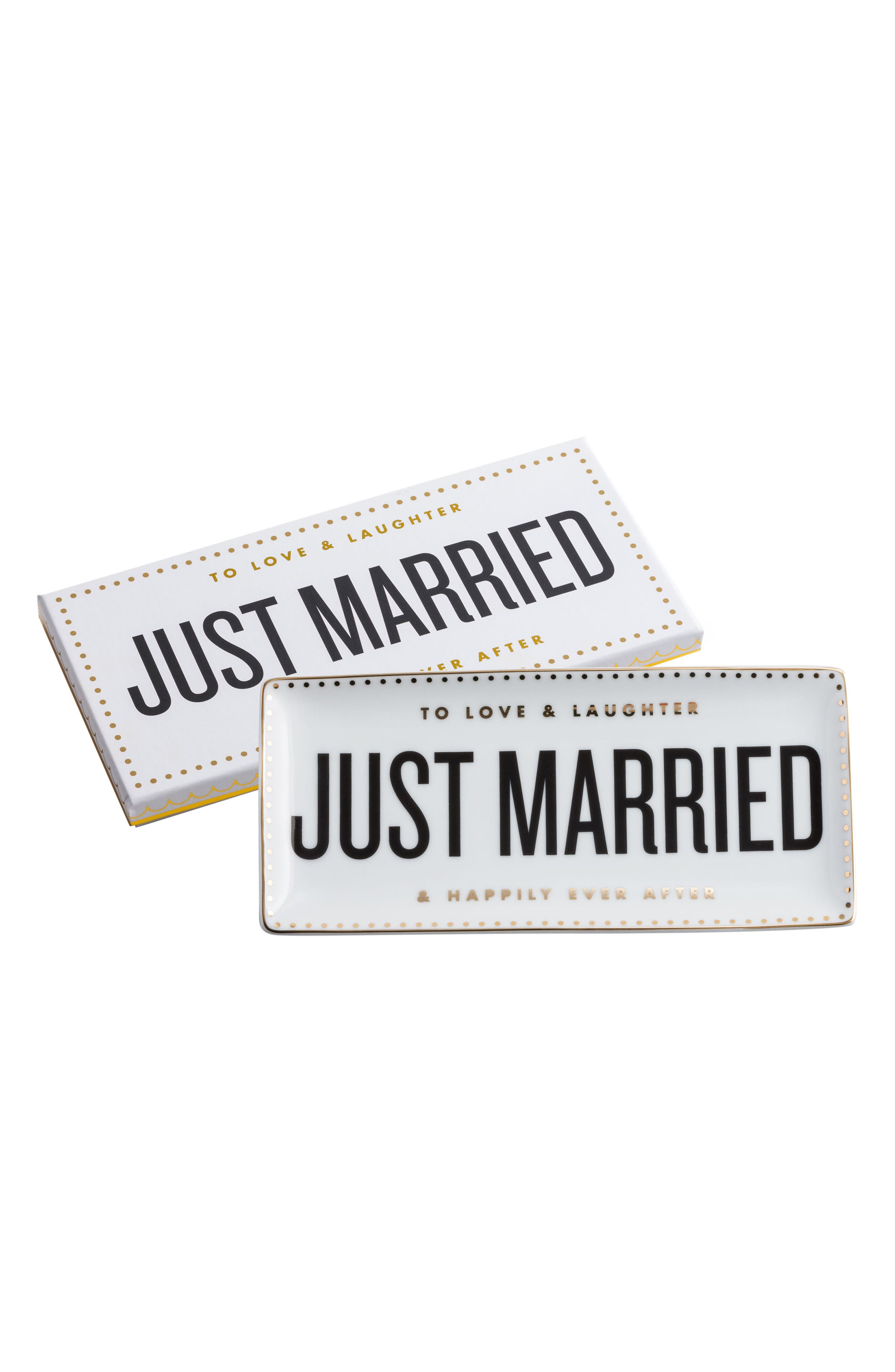 Just Married Porcelain Trinket Tray,                         Main,                         color, White/ Black/ Gold