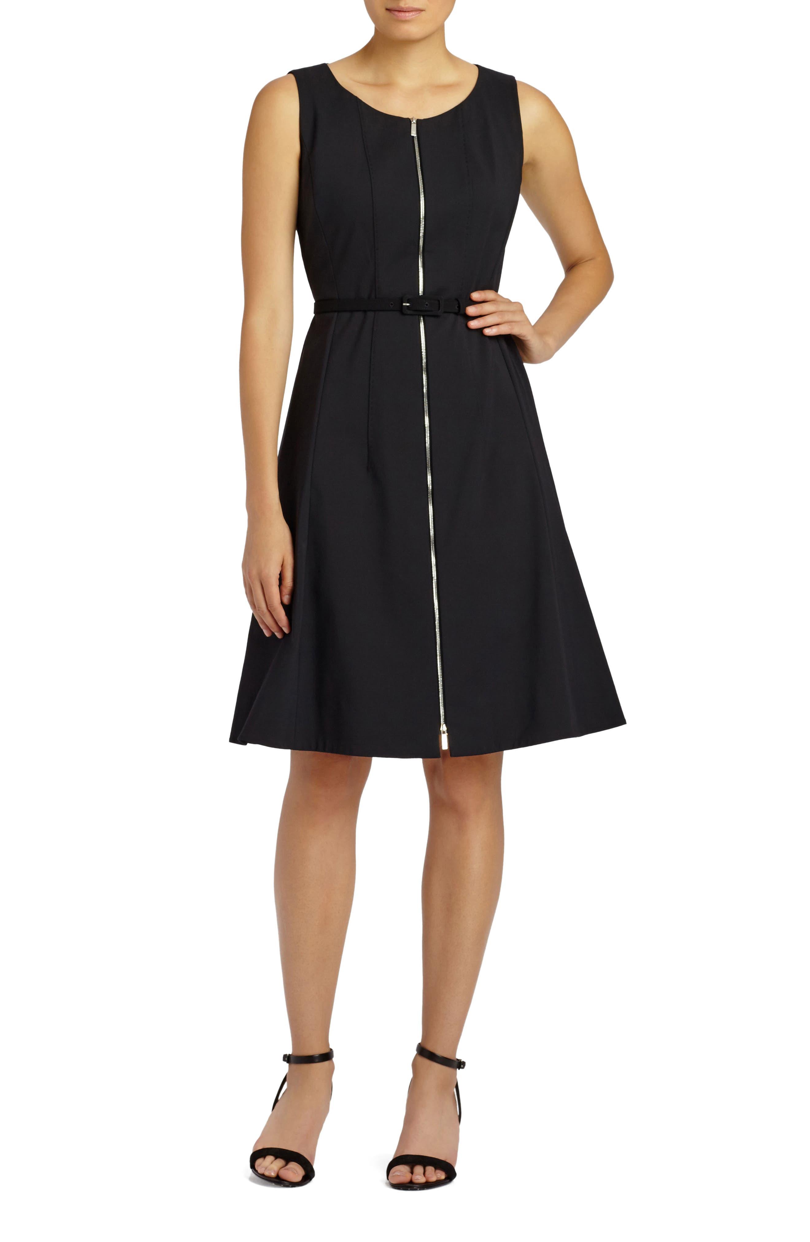 Main Image - Lafayette 148 New York Coralie Belted Fundamental Bi-Stretch Dress