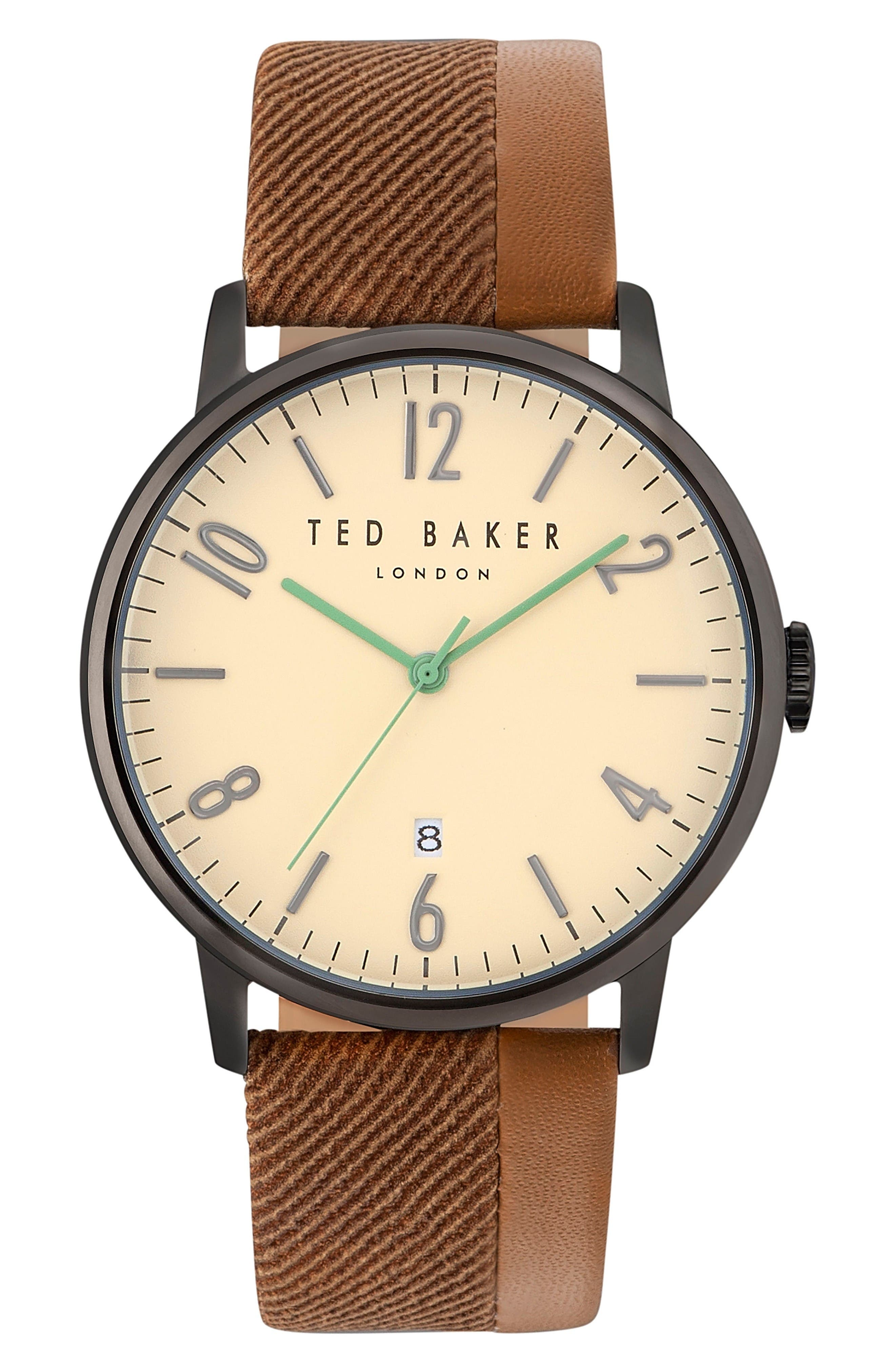 Main Image - Ted Baker London Daniel Leather Strap Watch, 42mm