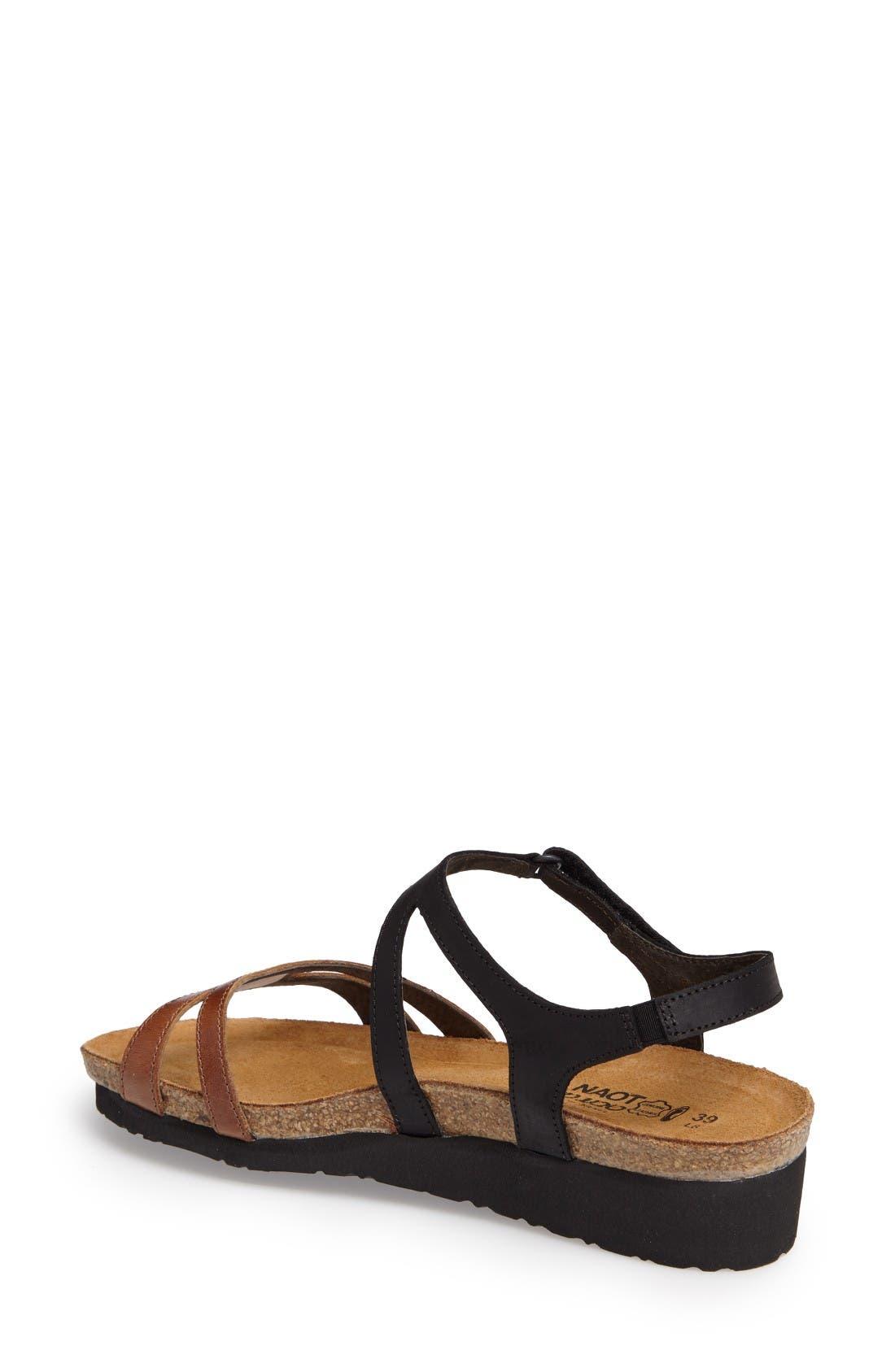Janis Sandal,                             Alternate thumbnail 2, color,                             Brown/ Black Leather