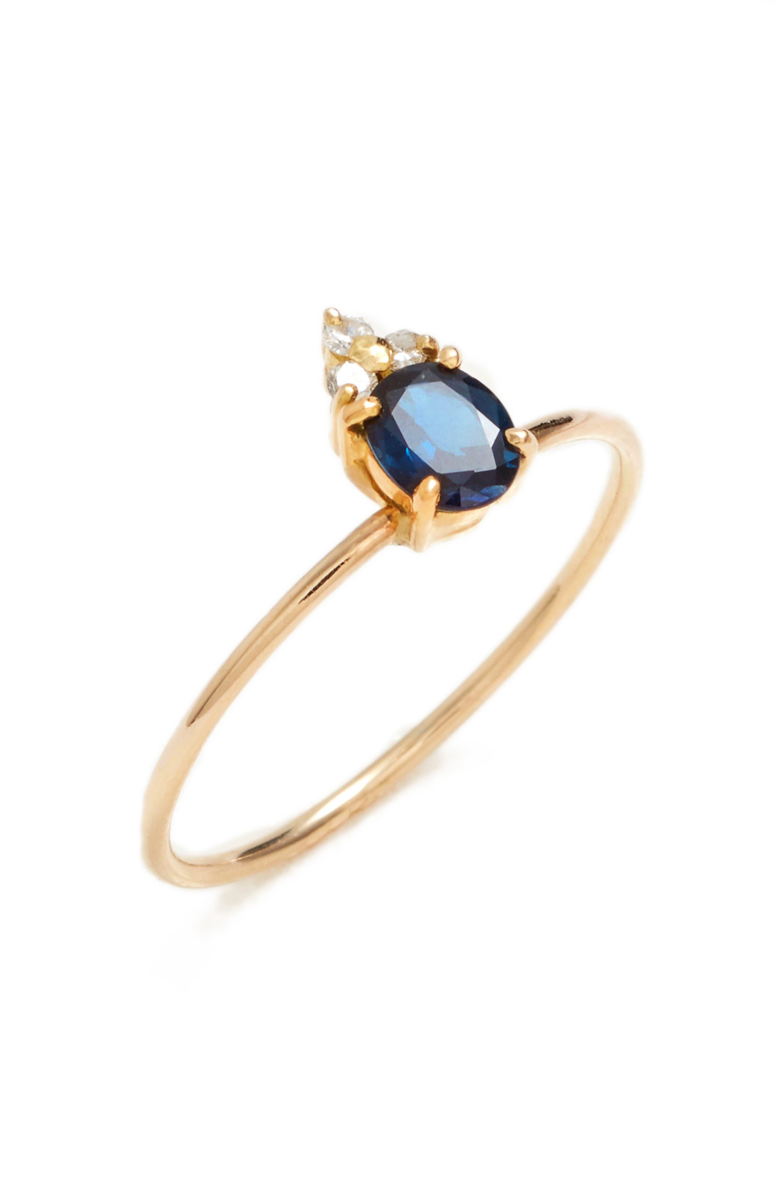 Skinny Stone Sapphire & Diamond Ring,                             Main thumbnail 1, color,                             Yellow Gold/ Blue Sapphire