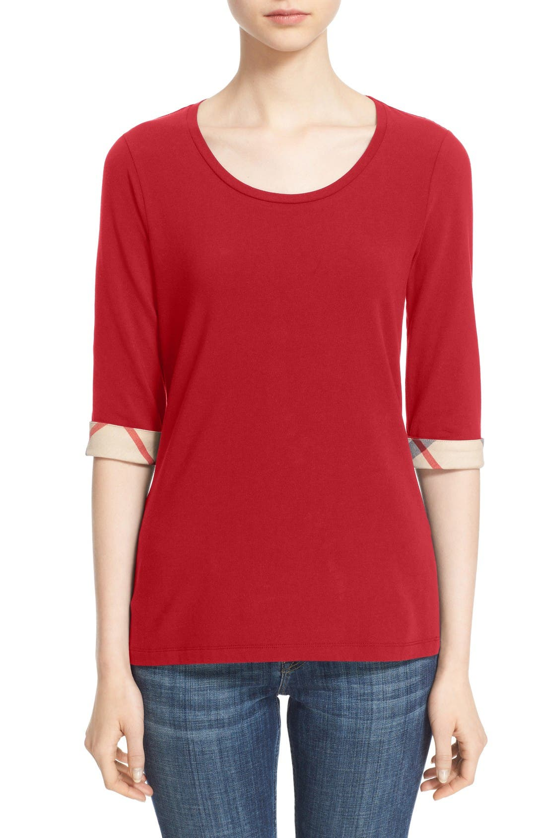 Check Trim Tee,                         Main,                         color, Lacquer Red