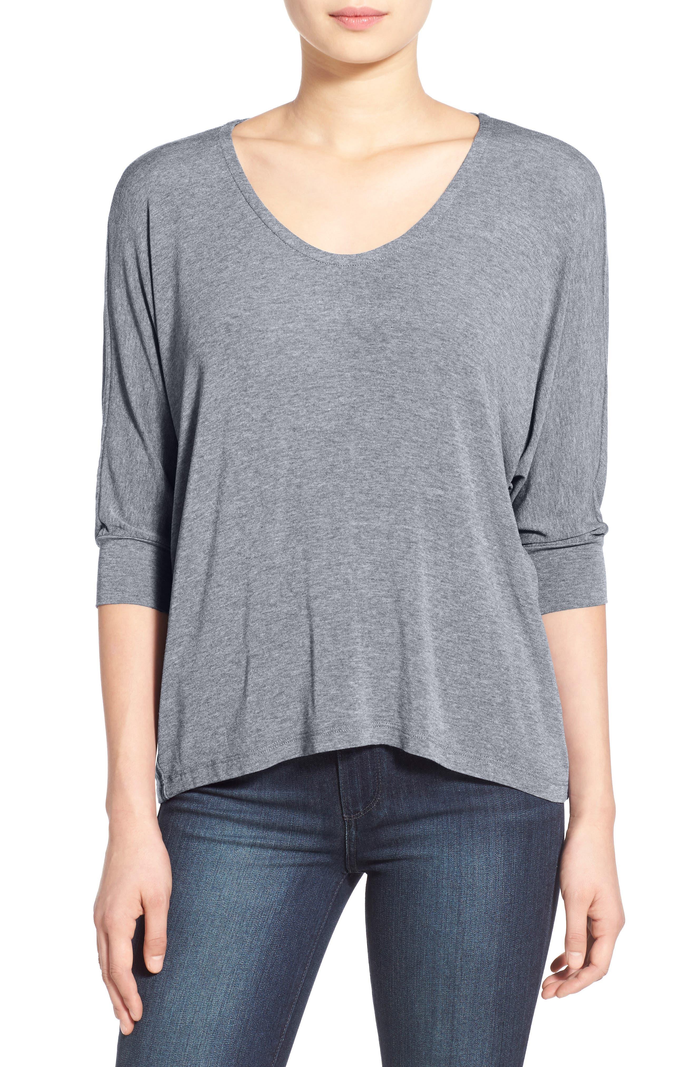 Dolman Sleeve Top,                         Main,                         color, Steel