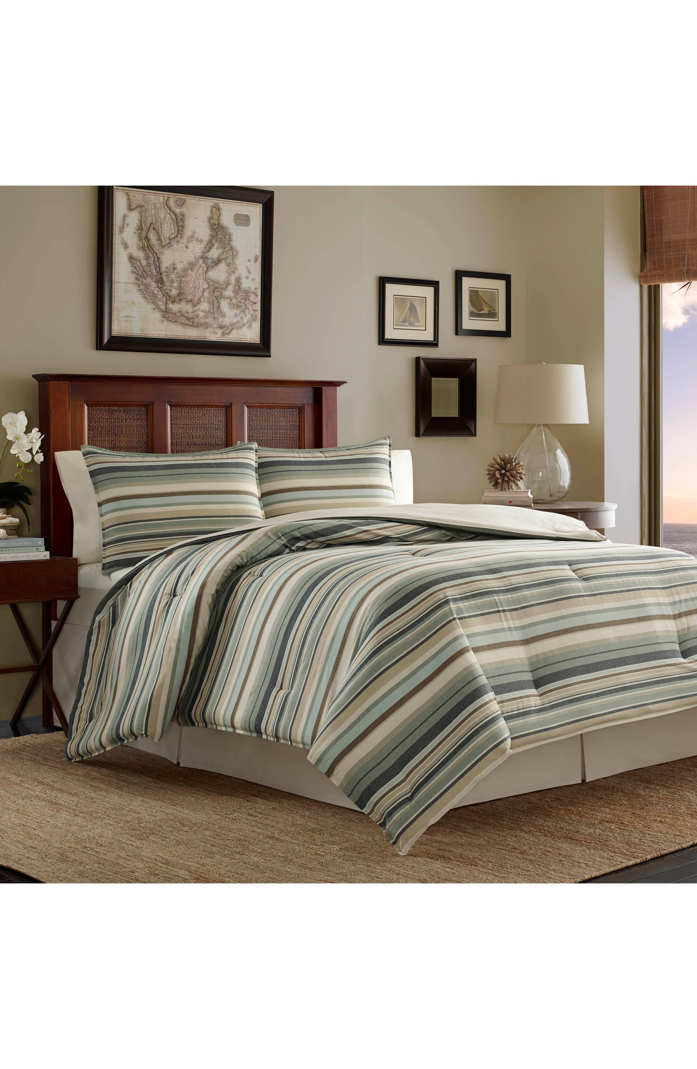 Stripe Canvas Comforter, Sham & Bed Skirt Set,                         Main,                         color, Green/ Multi
