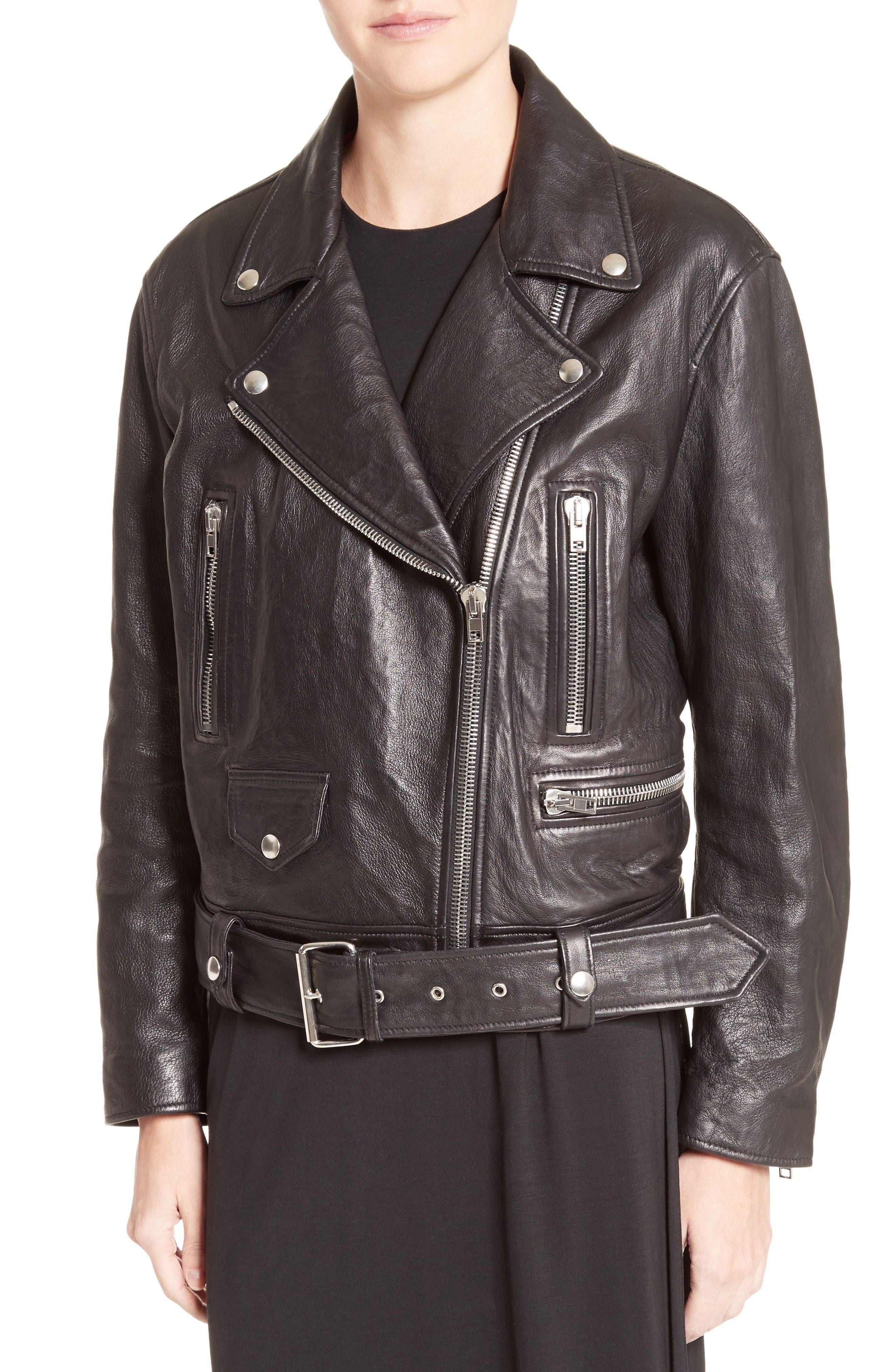 Merlyn Leather Jacket,                             Main thumbnail 1, color,                             Black