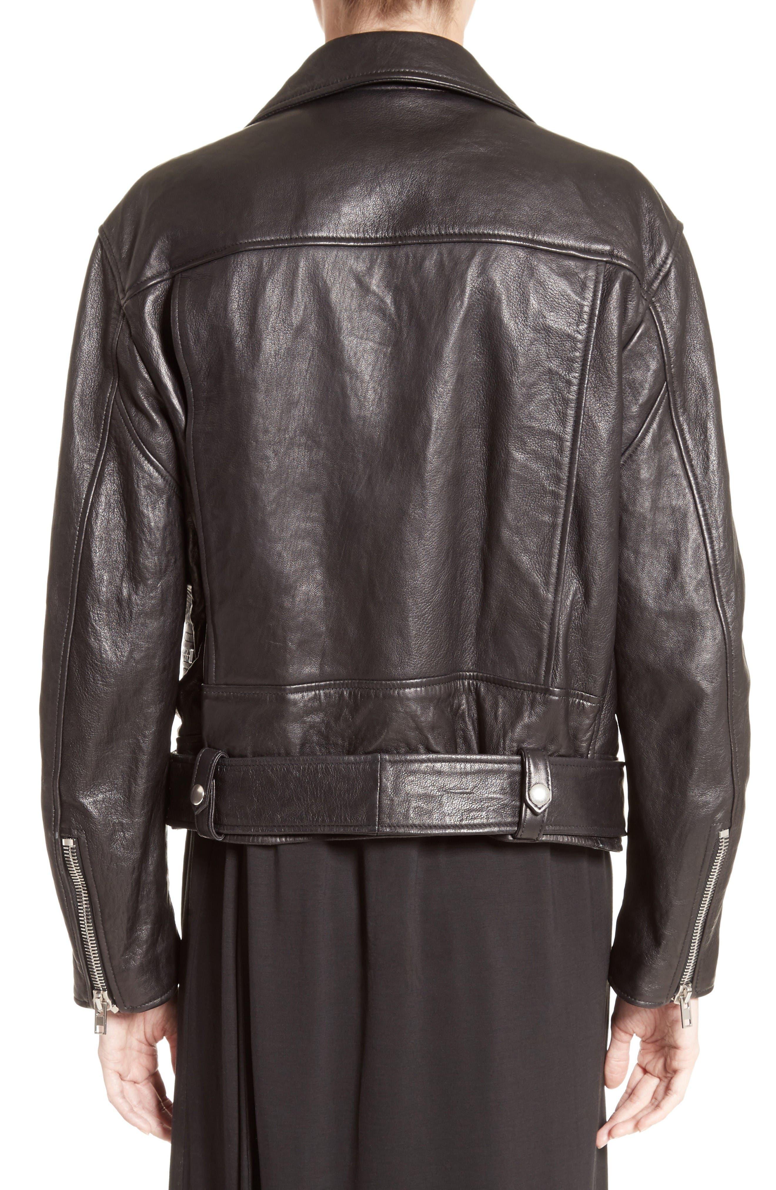 Merlyn Leather Jacket,                             Alternate thumbnail 2, color,                             Black
