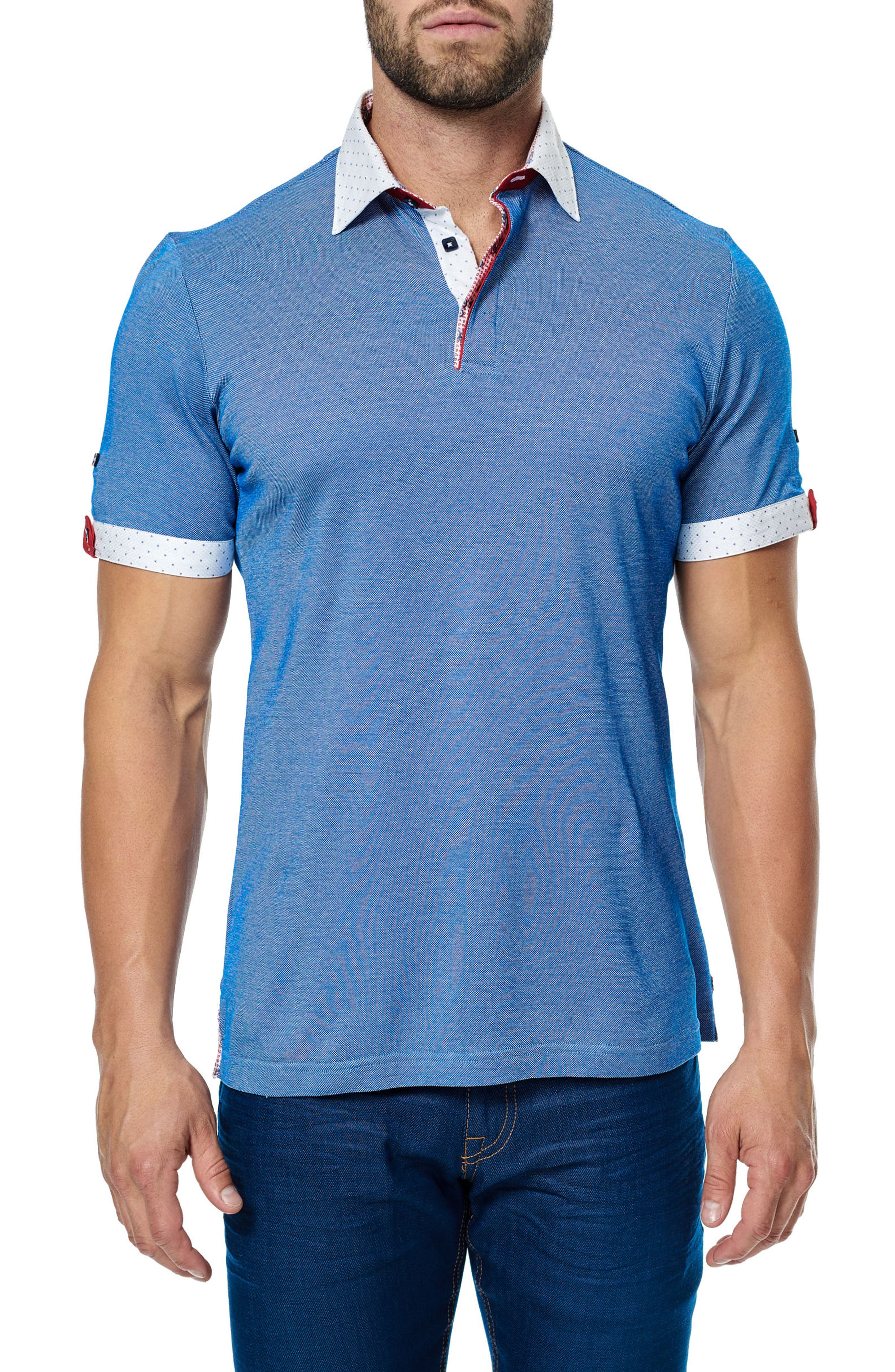 Paisley Trim Polo,                         Main,                         color, Royal Blue