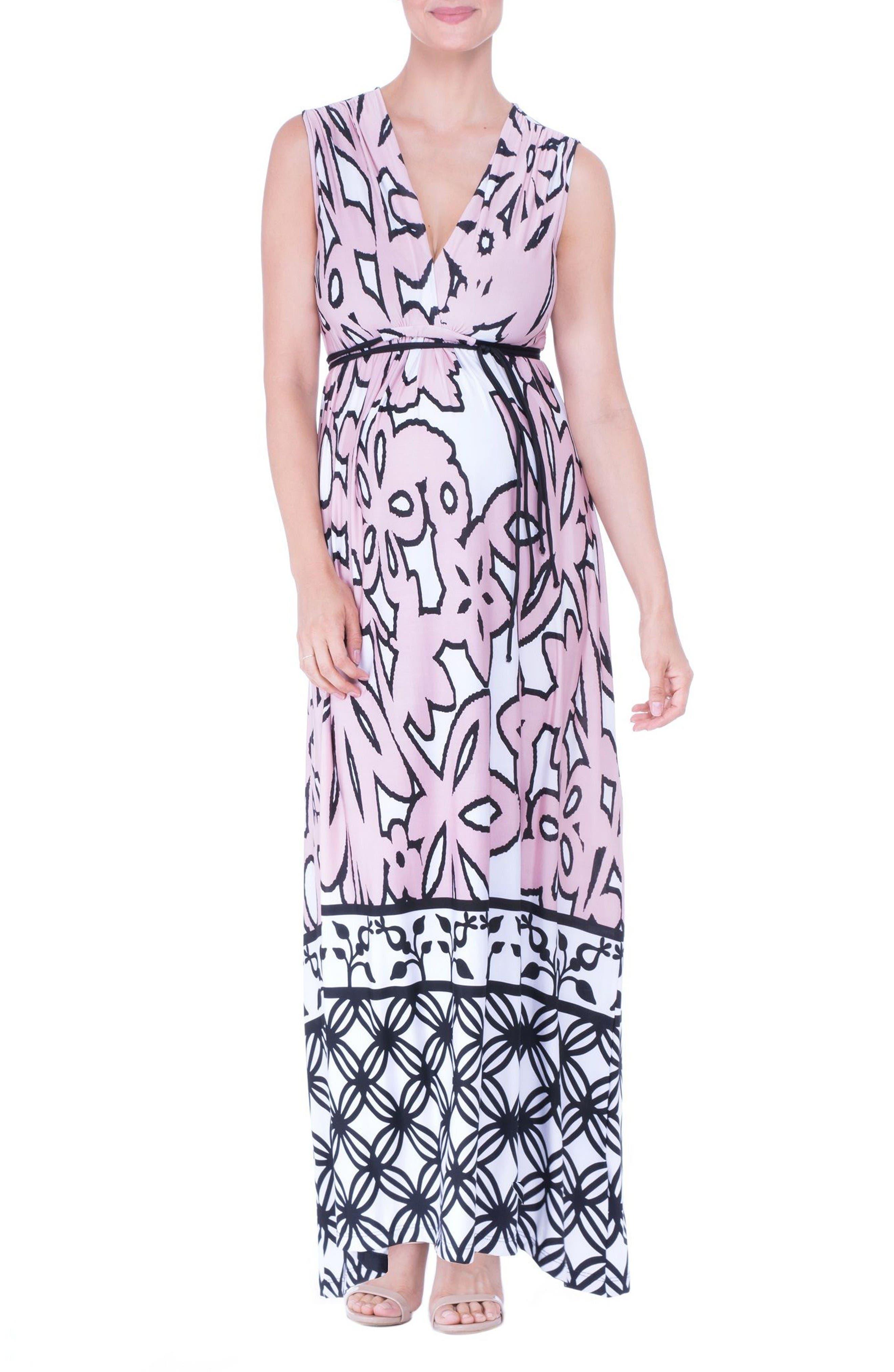 Print Maternity Maxi Dress,                         Main,                         color, Pink
