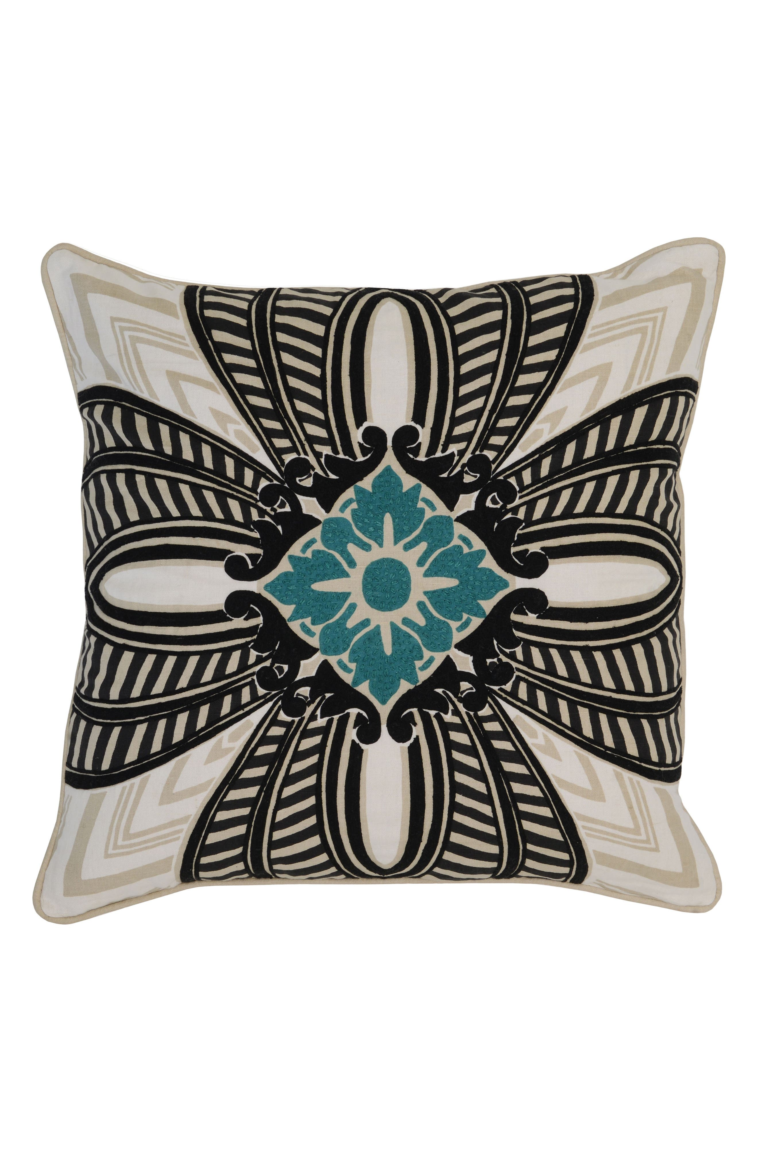 Cabos Accent Pillow,                         Main,                         color, Black/ Ivory/ Teal