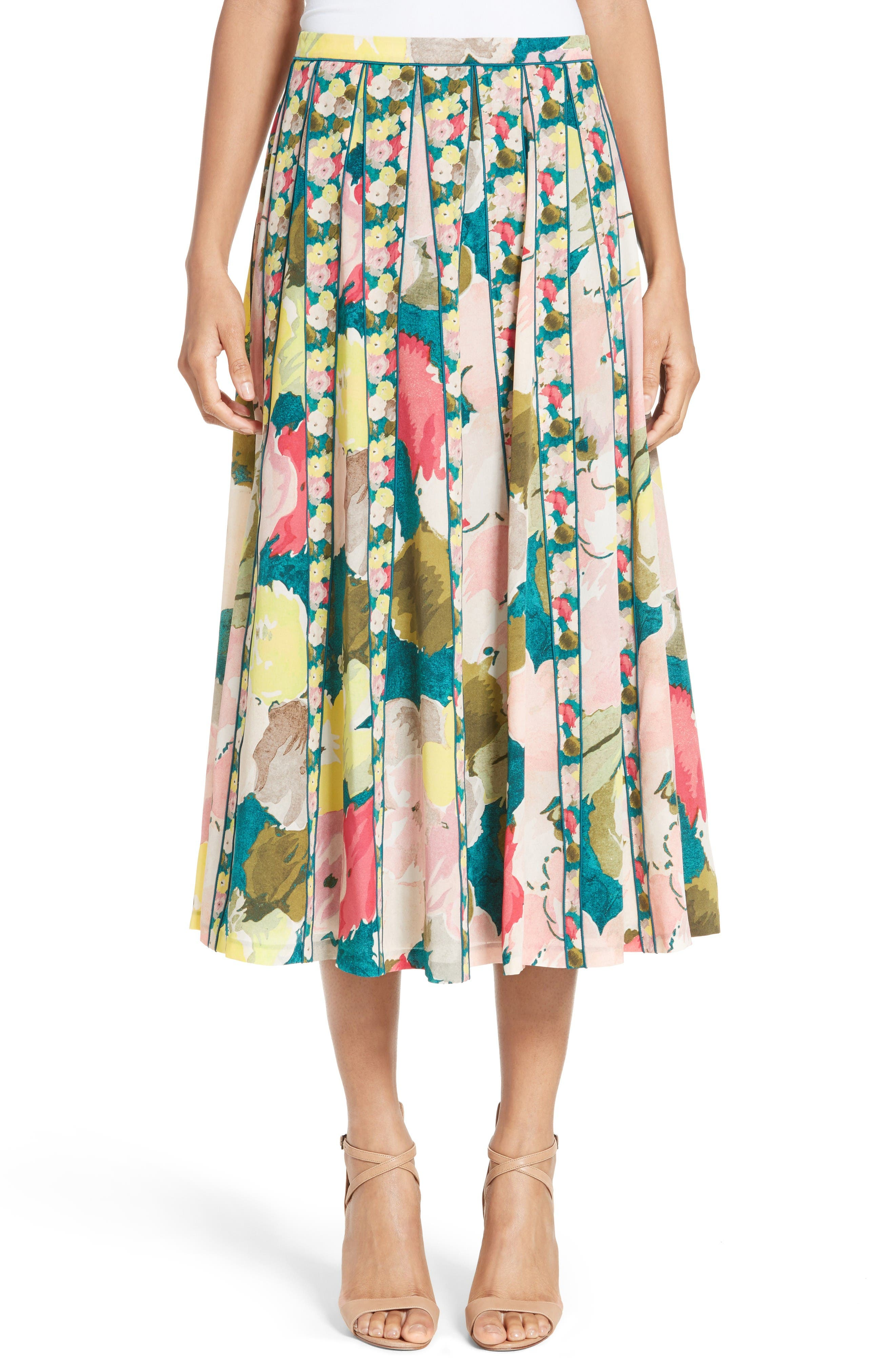 Main Image - Lafayette 148 New York Adalia Pleated Floral Silk Skirt