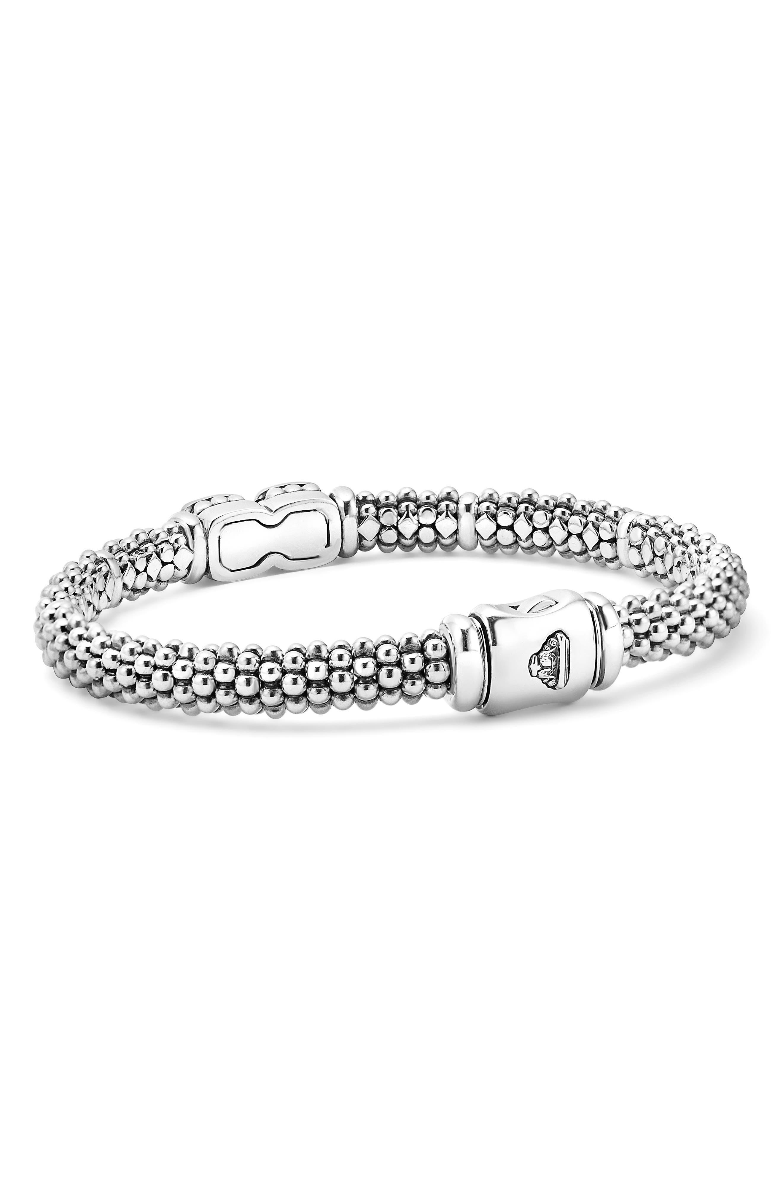 Caviar Cushion Diamond Station Bracelet,                             Alternate thumbnail 3, color,                             Silver/ Gold
