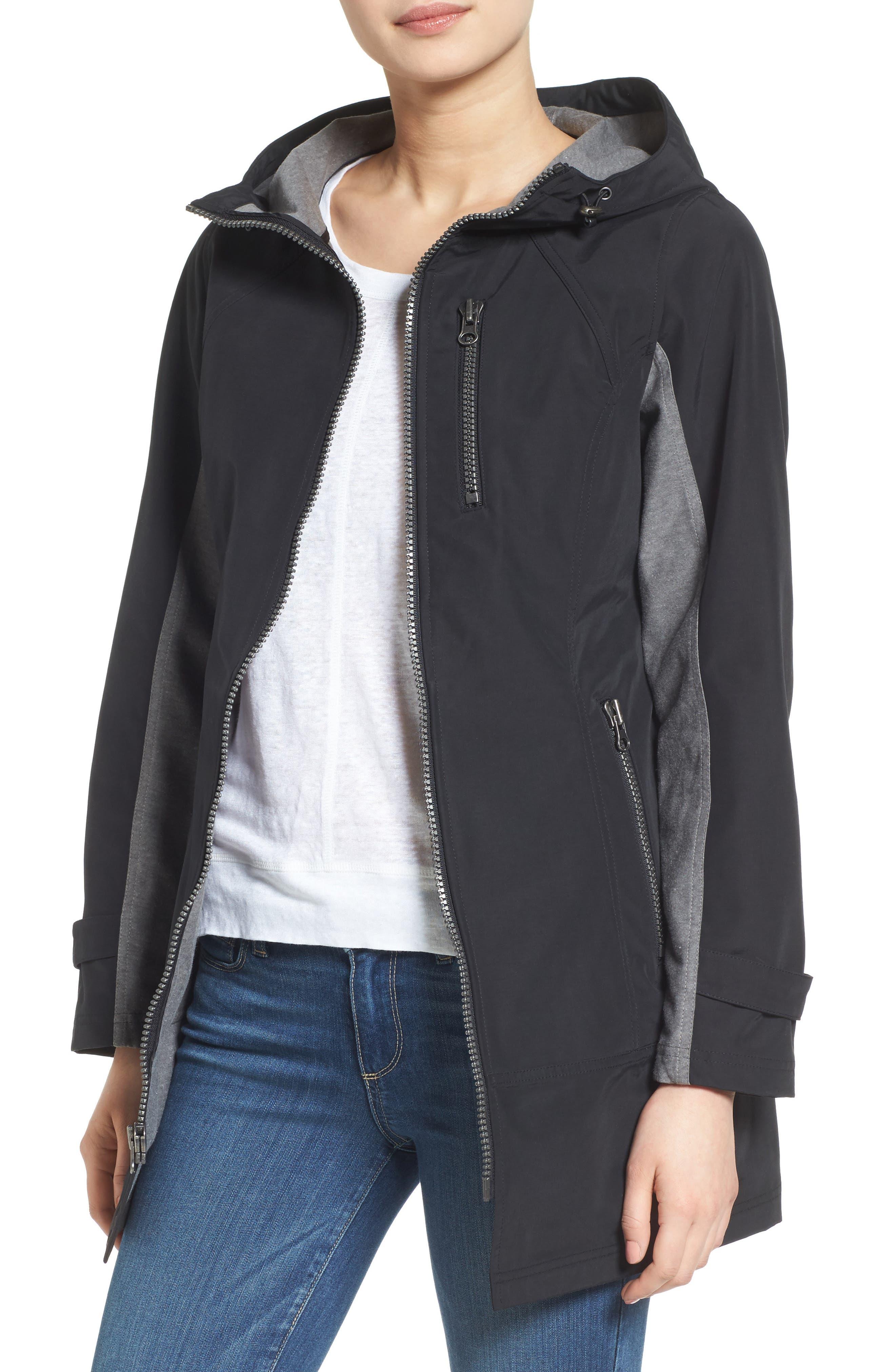 Kristen Blake Hooded Two-Tone Zip Front Jacket