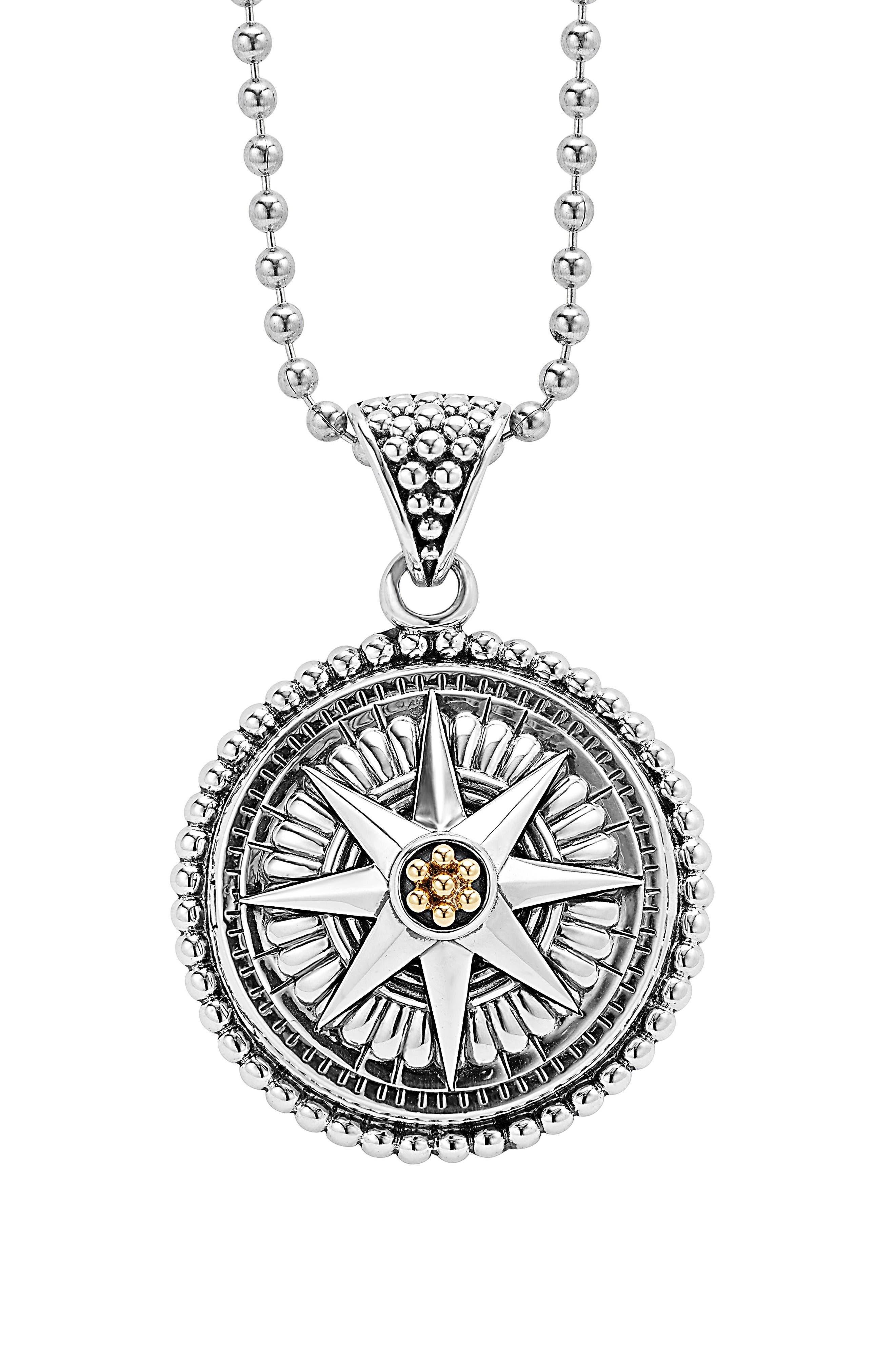 Signature Caviar Compass Pendant Necklace,                         Main,                         color, Silver