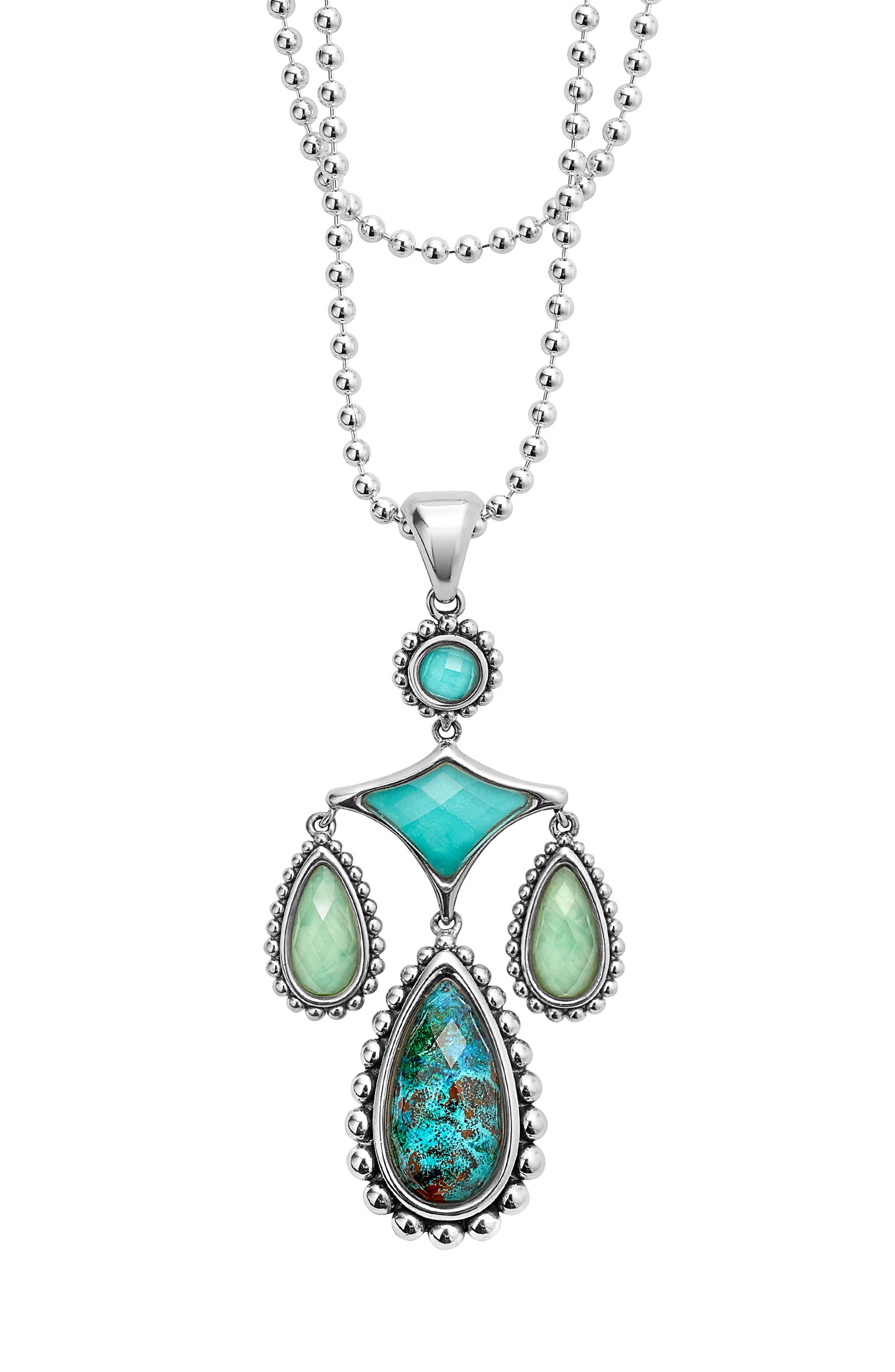 Maya Drop Pendant Necklace,                             Alternate thumbnail 2, color,                             Silver
