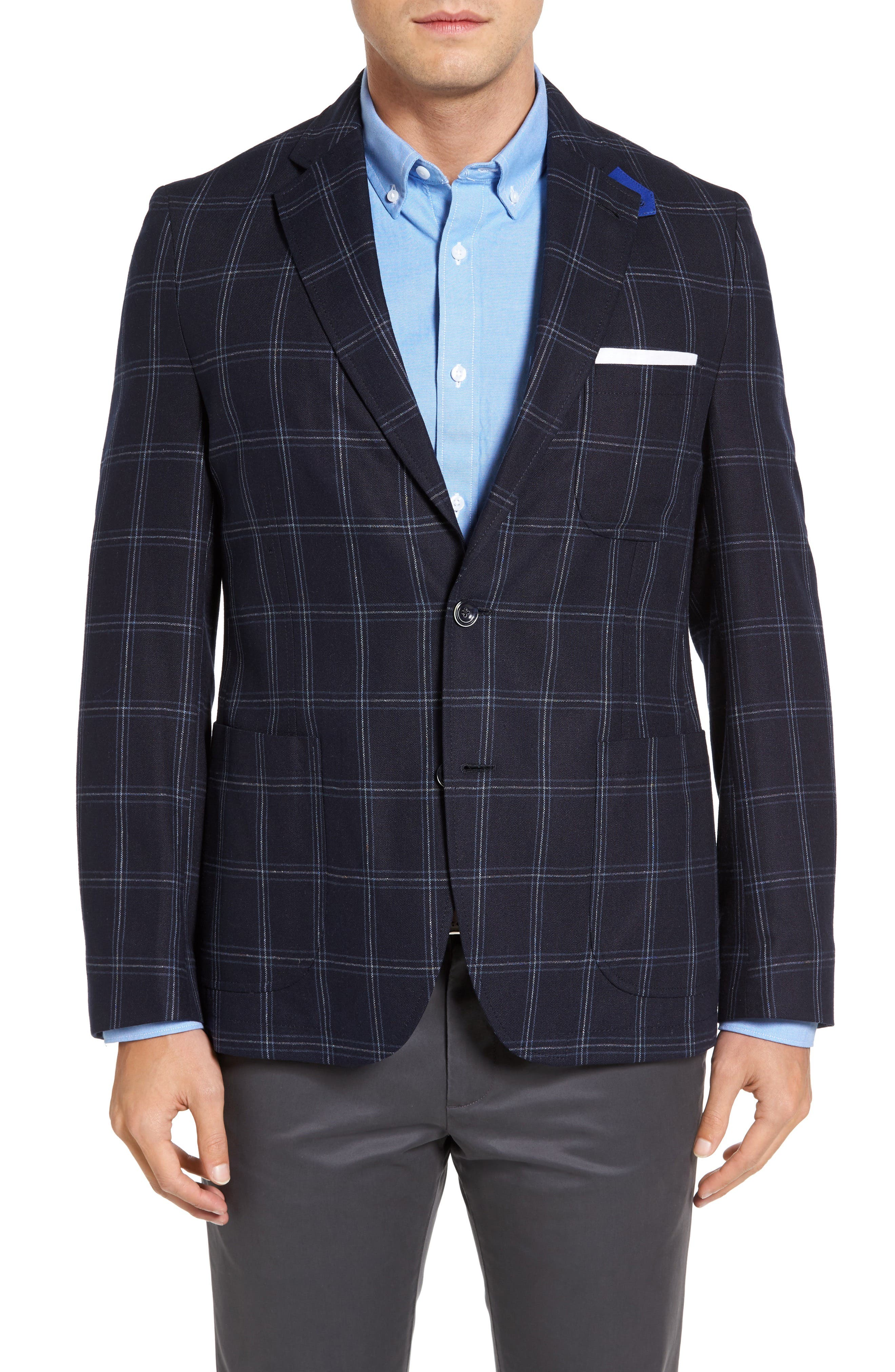 White Classic Fit Check Silk Sport Coat,                         Main,                         color, Navy