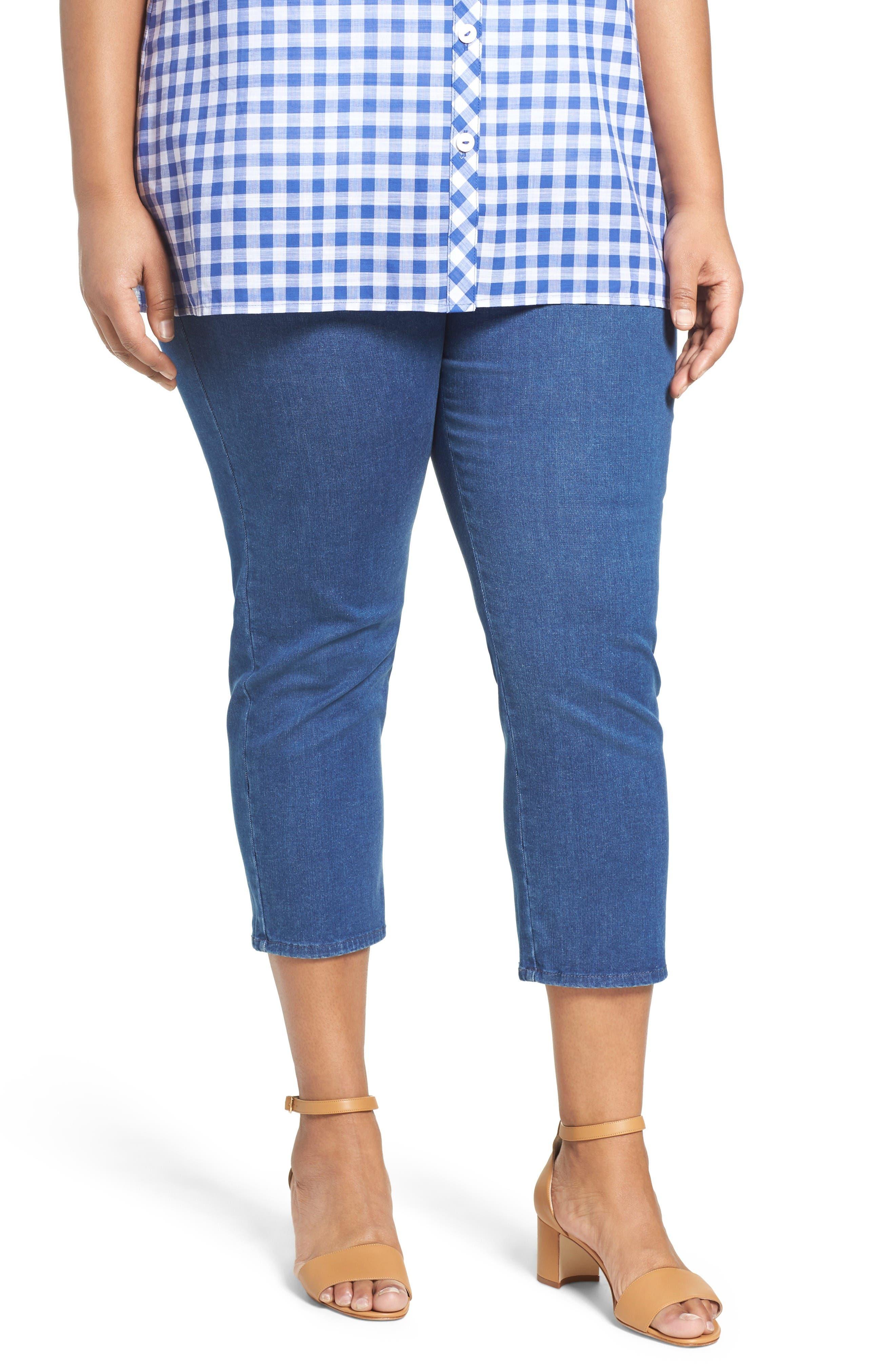 Alternate Image 1 Selected - Foxcroft Nina Slimming Pull-On Capri Jeans (Plus Size)