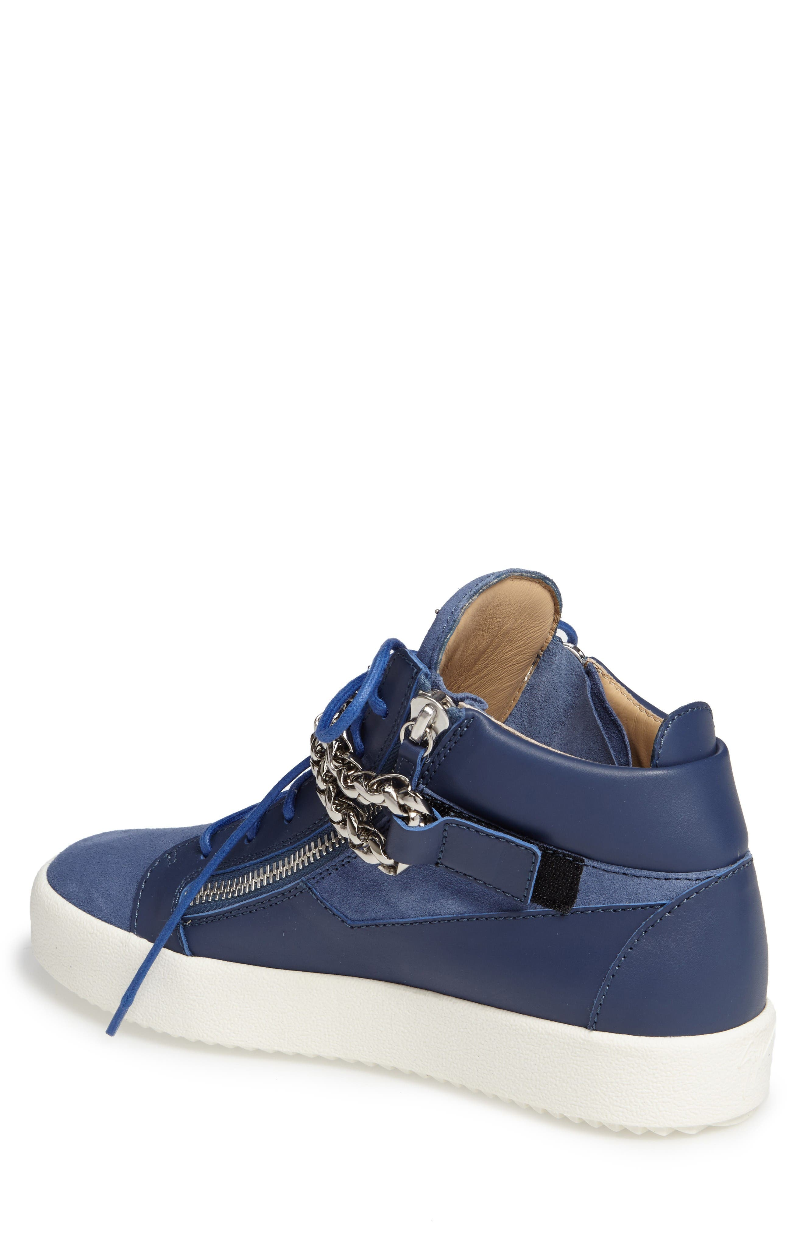 Chain Mid Top Sneaker,                             Alternate thumbnail 2, color,                             Blue Suede/ Leather