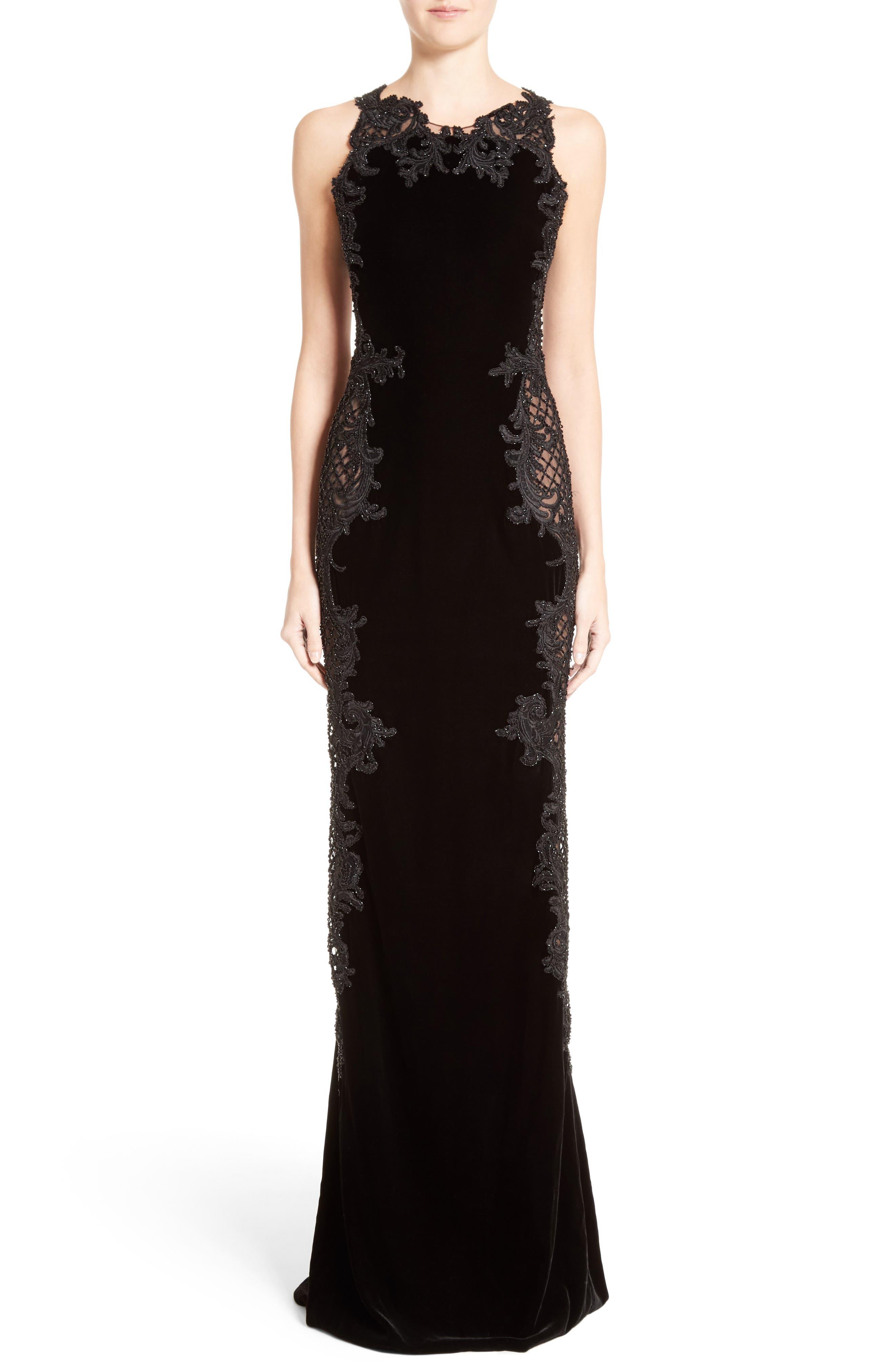 Embellished Tulle & Velvet Column Gown,                             Main thumbnail 1, color,                             Black