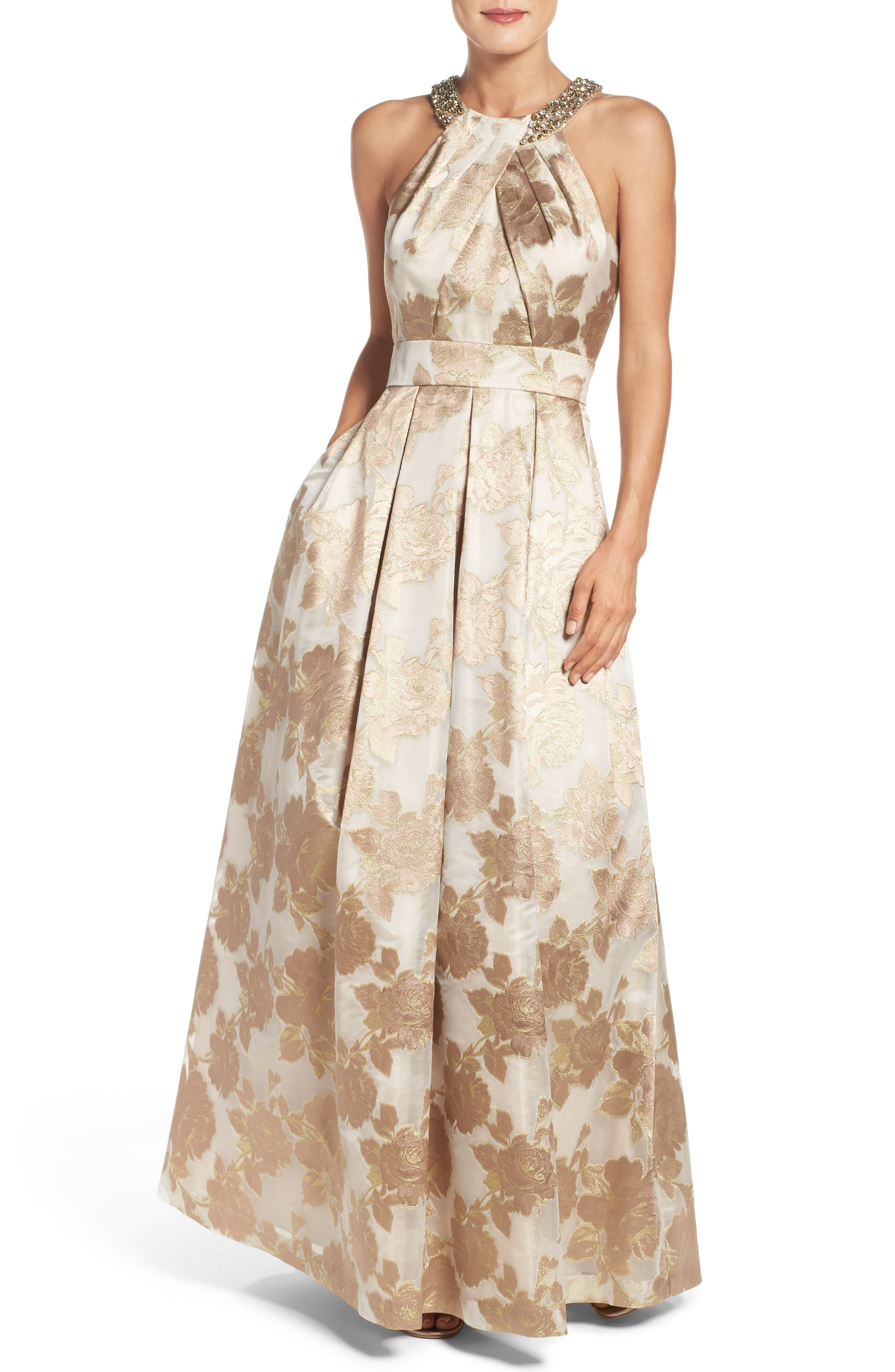 Embellished Floral Jacquard Fit & Flare Gown,                             Main thumbnail 1, color,                             Champagne