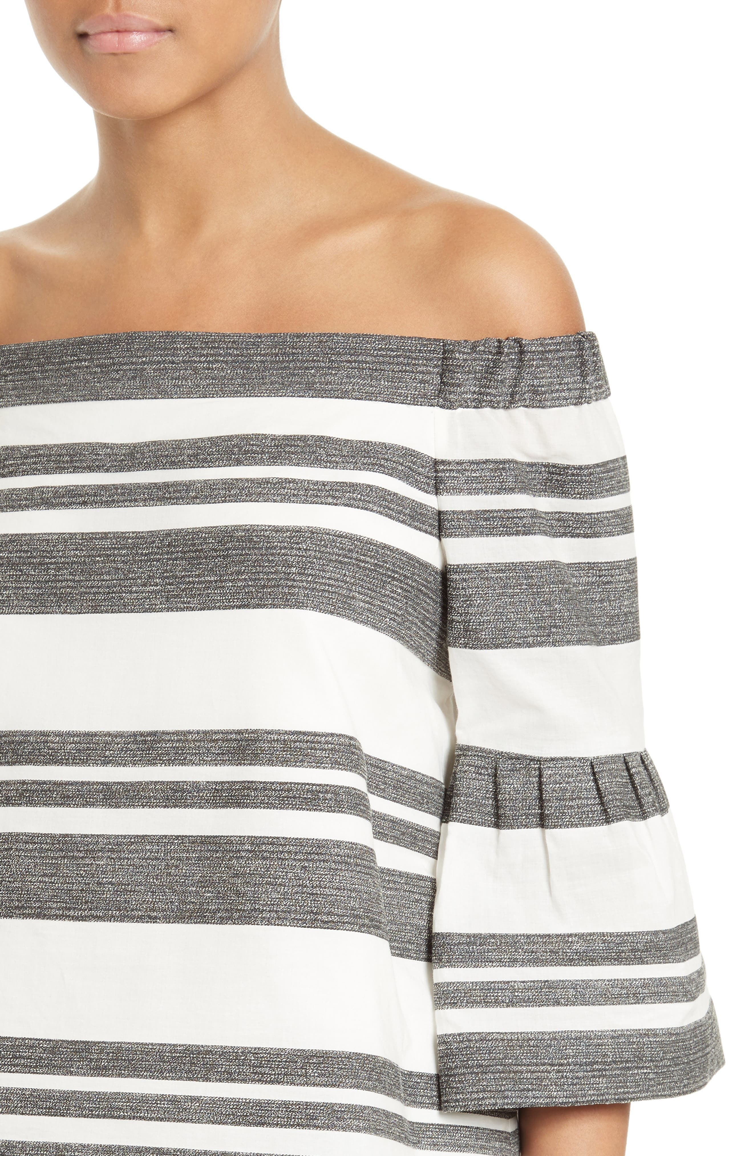 Organza Stripe Off the Shoulder Top,                             Alternate thumbnail 4, color,                             Ivory/ Black Multi