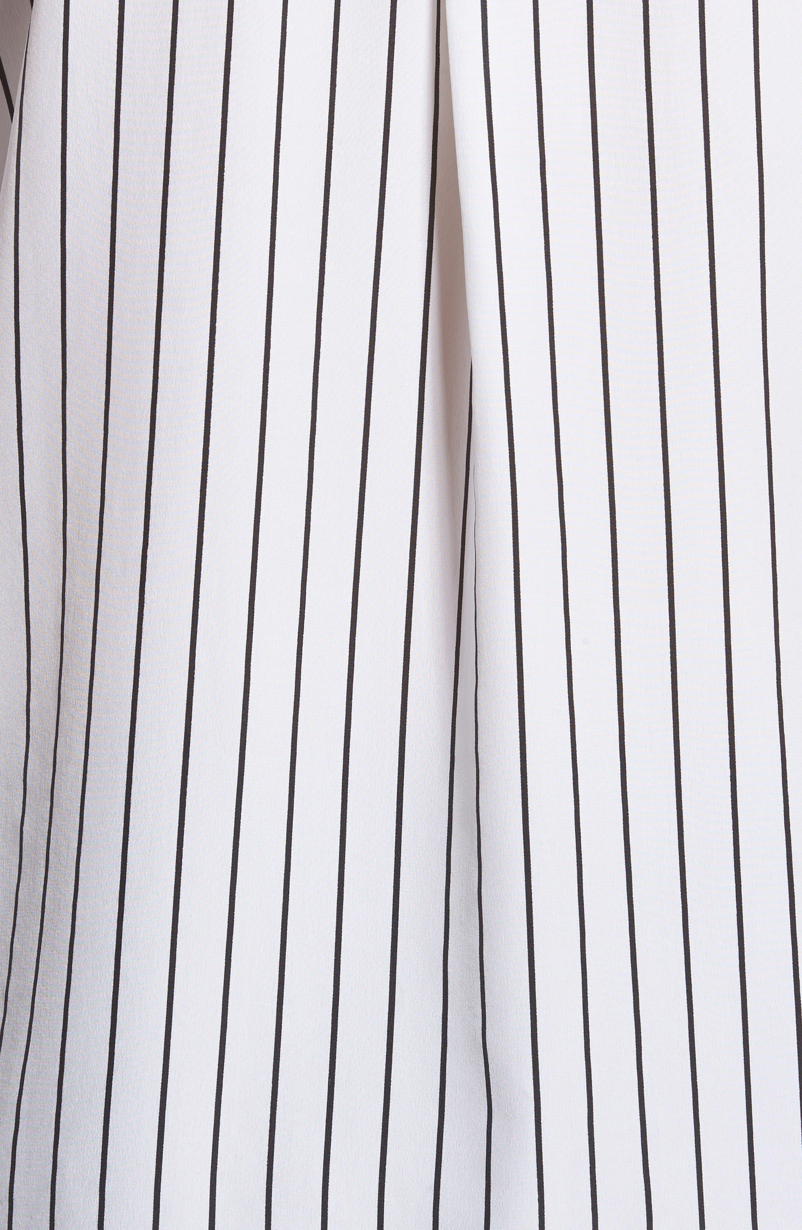 Avery Silk Shirt,                             Alternate thumbnail 5, color,                             True White / True Black Stripe