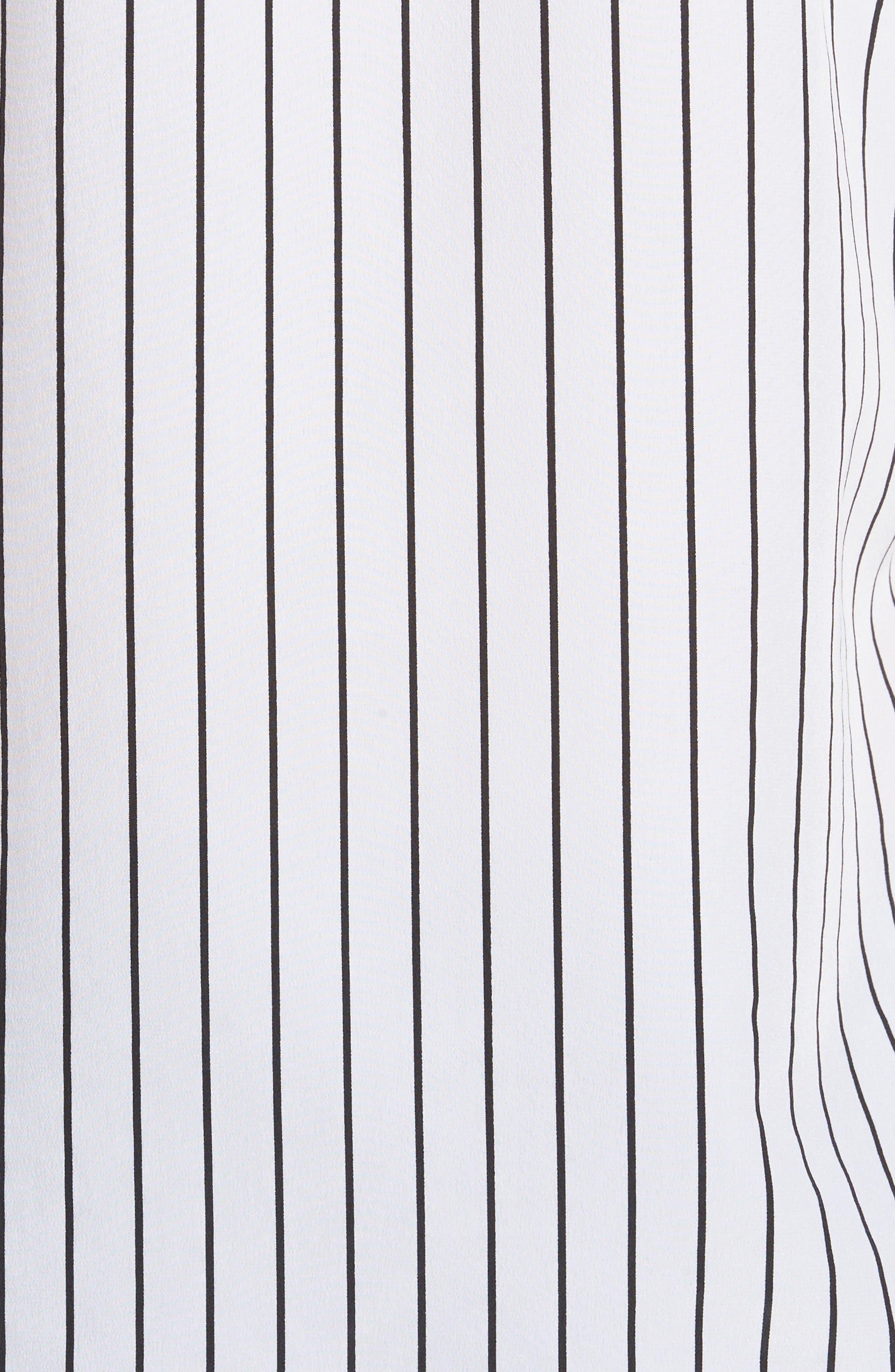 Claire Stripe Silk Shirt,                             Alternate thumbnail 5, color,                             True White / True Black Stripe