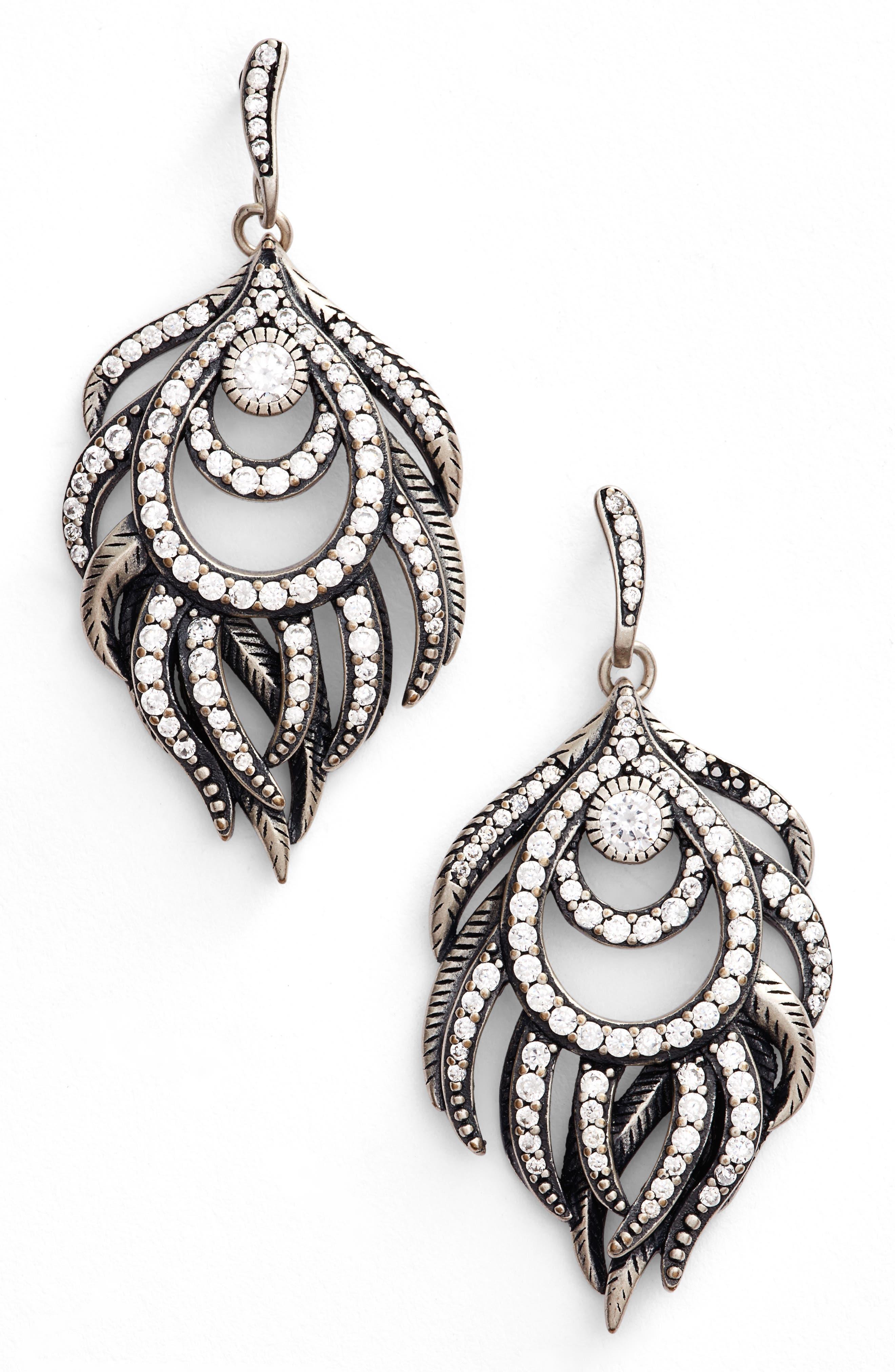 Emelia Drop Earrings,                         Main,                         color, White Cz/ Antique Silver Metal