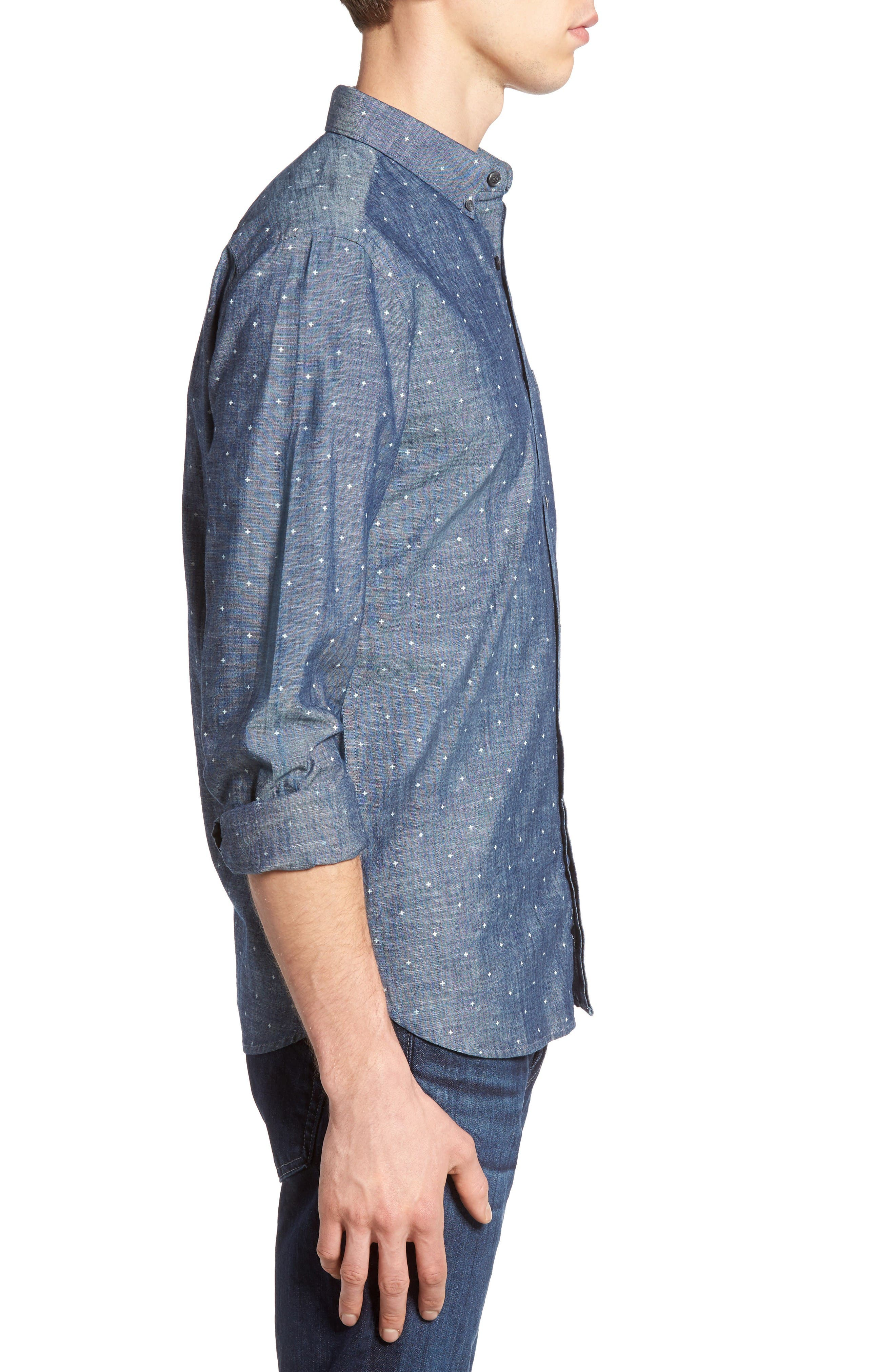 Alternate Image 3  - French Connection Print Slub Chambray Shirt