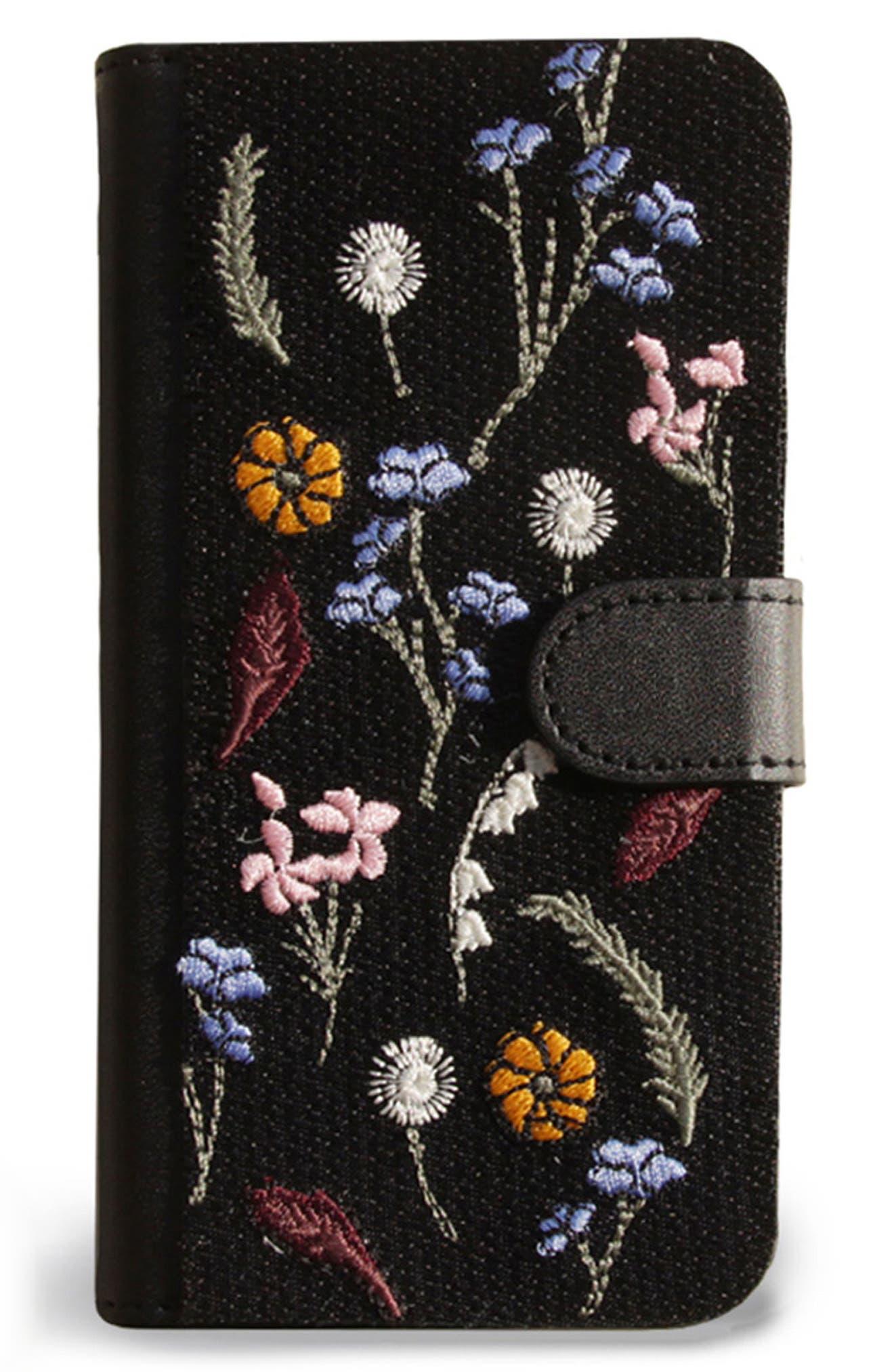 Gather iPhone 7 Wallet,                             Main thumbnail 1, color,                             Black Multi
