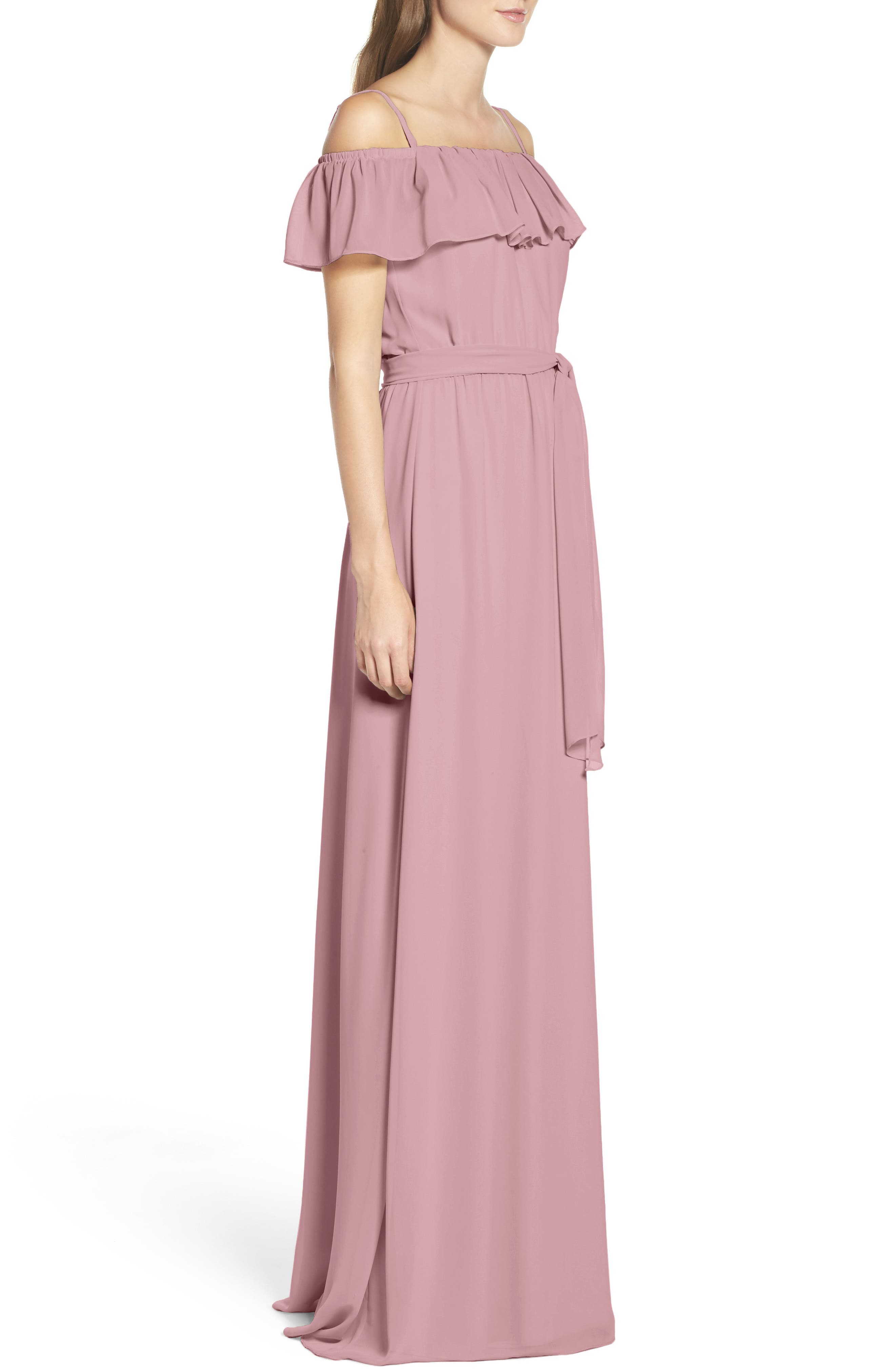 Alternate Image 3  - Ceremony by Joanna August Ruffle Off the Shoulder Chiffon Gown