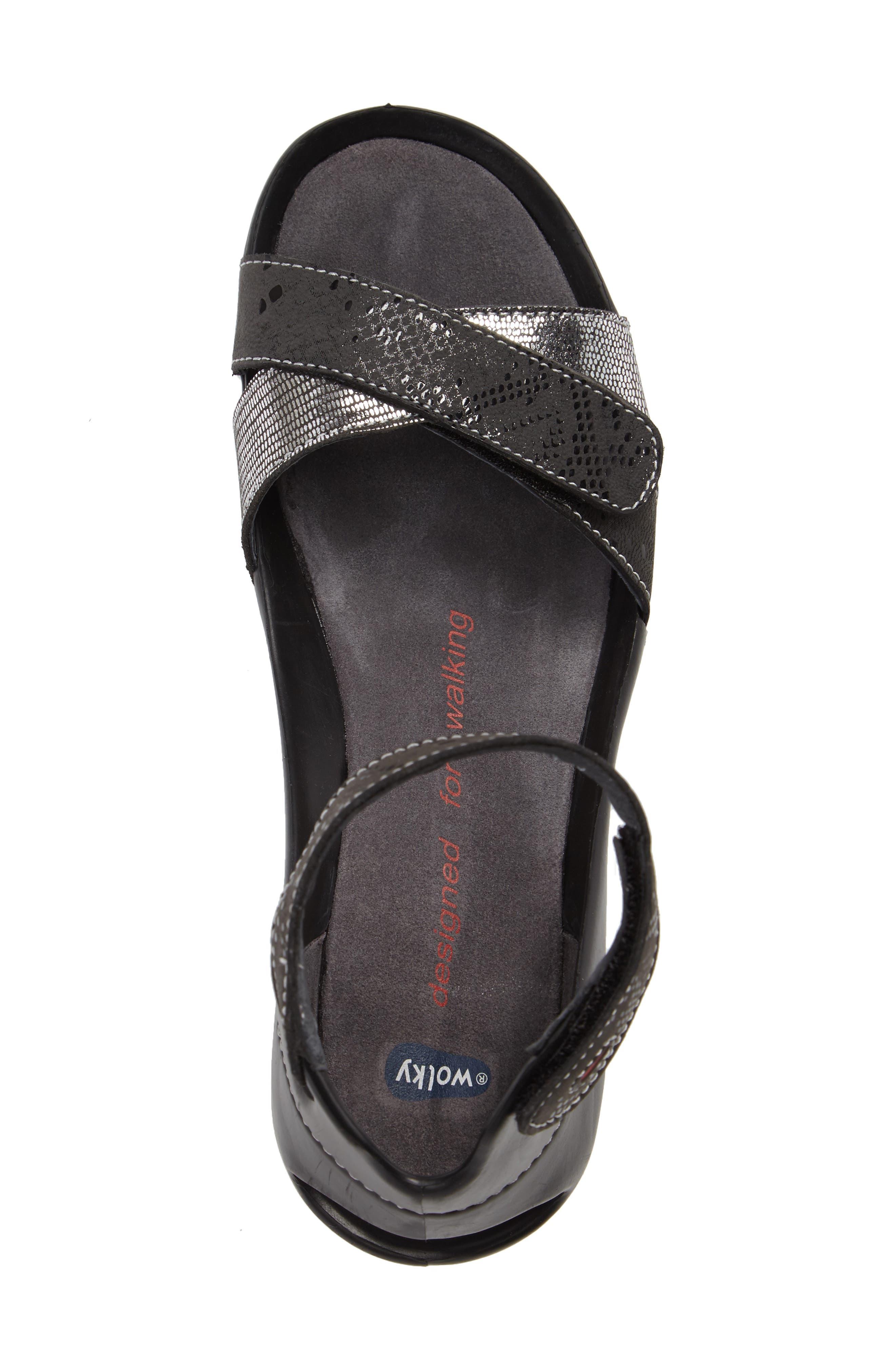 Do Wedge Sandal,                             Alternate thumbnail 3, color,                             Black Patina Leather