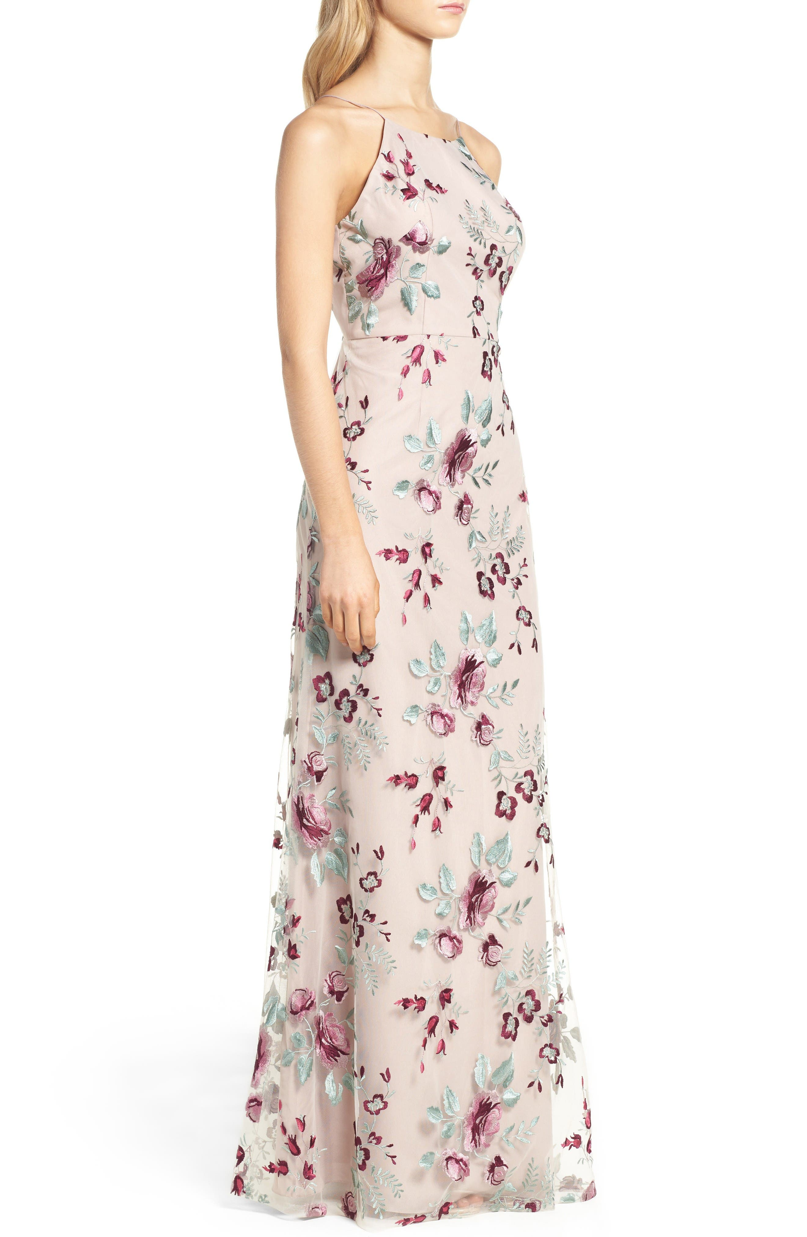 Claire Floral Embroidered Gown,                             Alternate thumbnail 3, color,                             Berry Vintage Iris