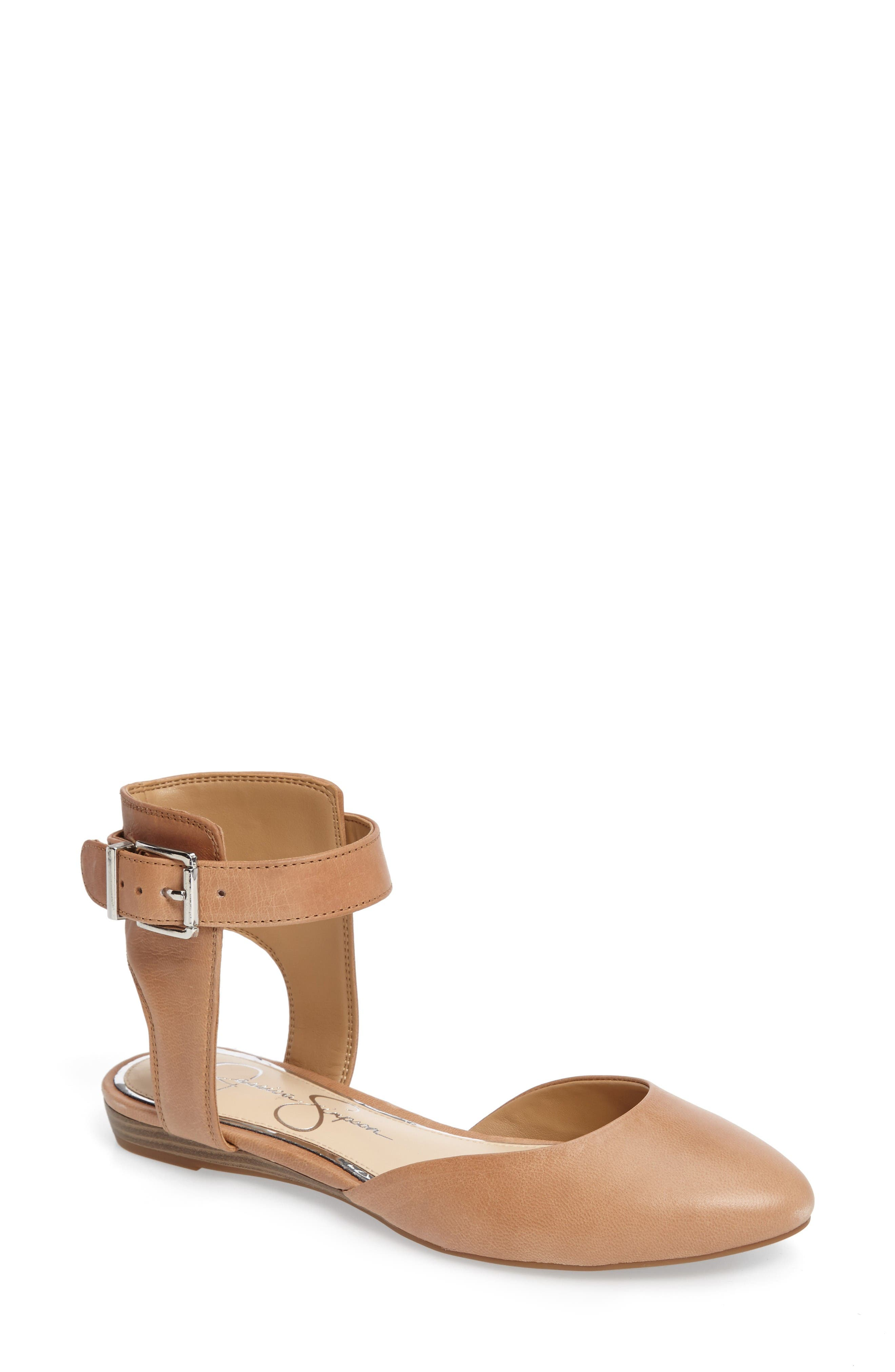 Loranda Ankle Strap Flat,                         Main,                         color, Buff