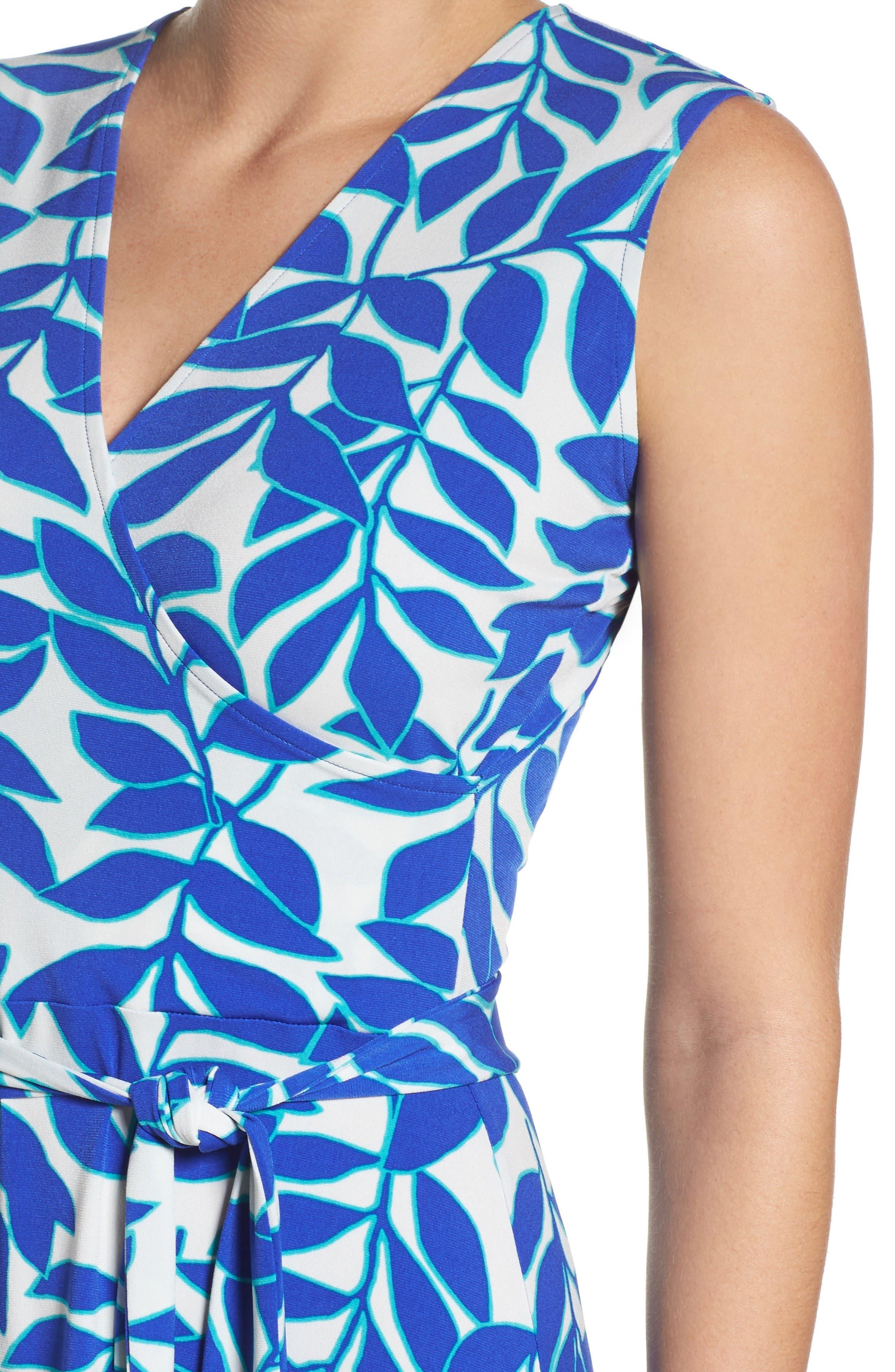 Perfect Faux Wrap Dress,                             Alternate thumbnail 5, color,                             Blue Ivy