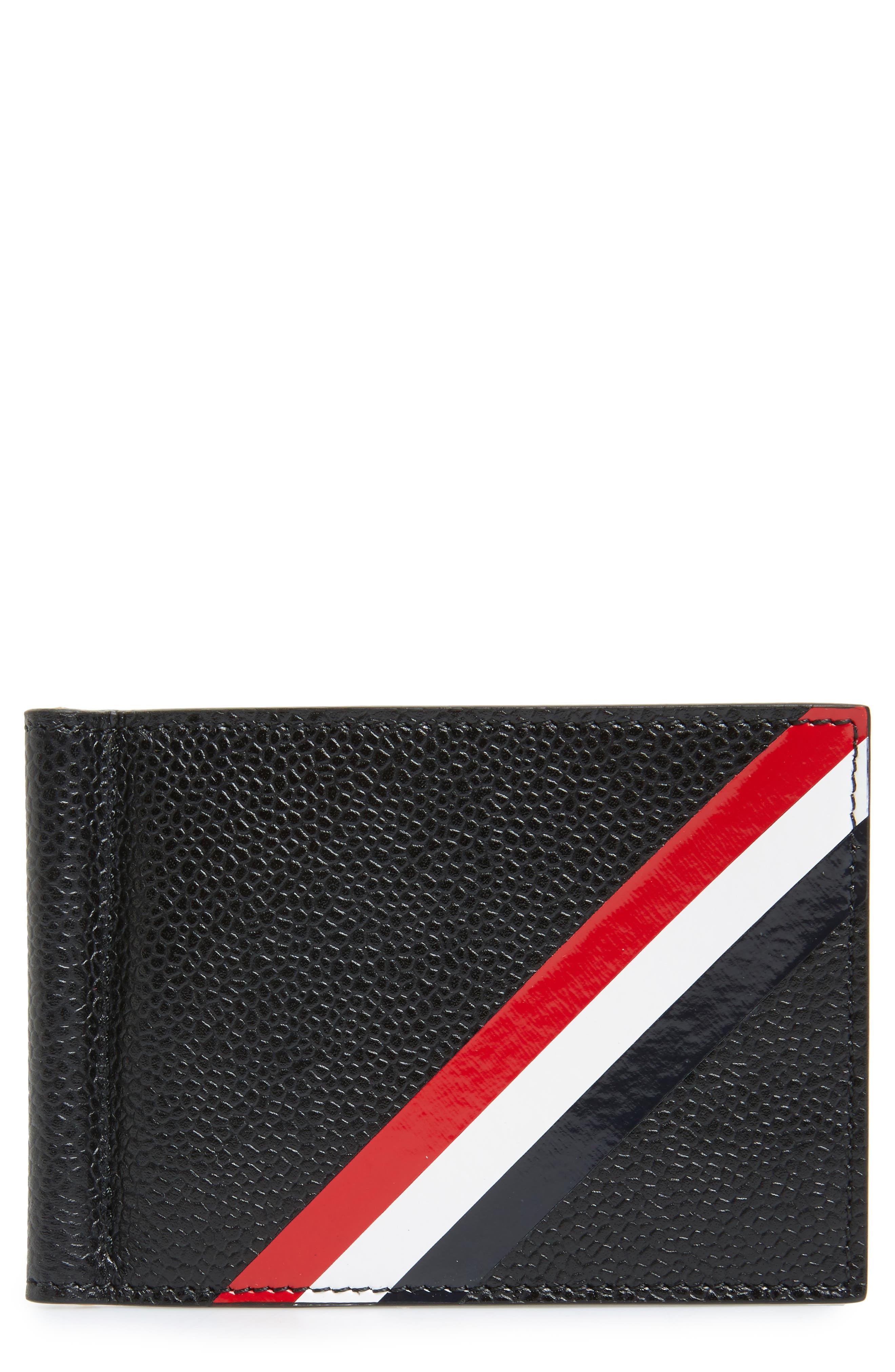 Diagonal Stripe Leather Card Holder,                         Main,                         color, Black