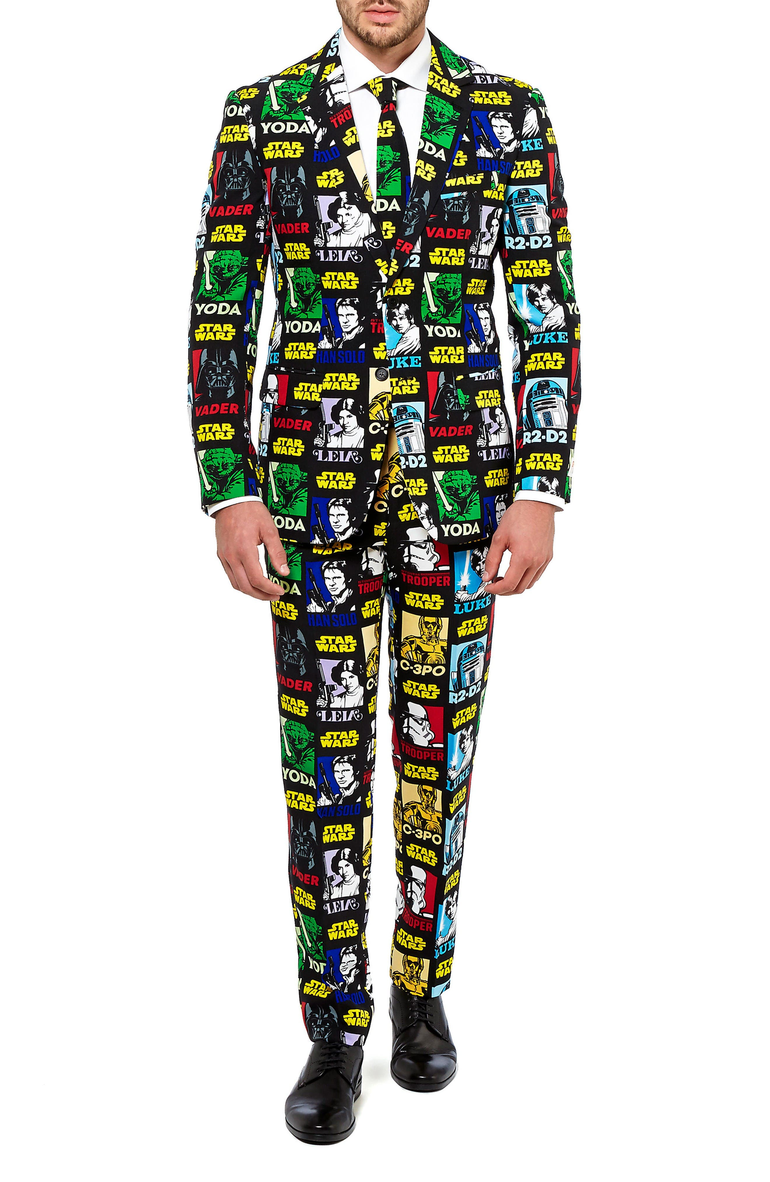 Strong Force Trim Fit Two-Piece Suit with Tie,                         Main,                         color, Black/ Multi