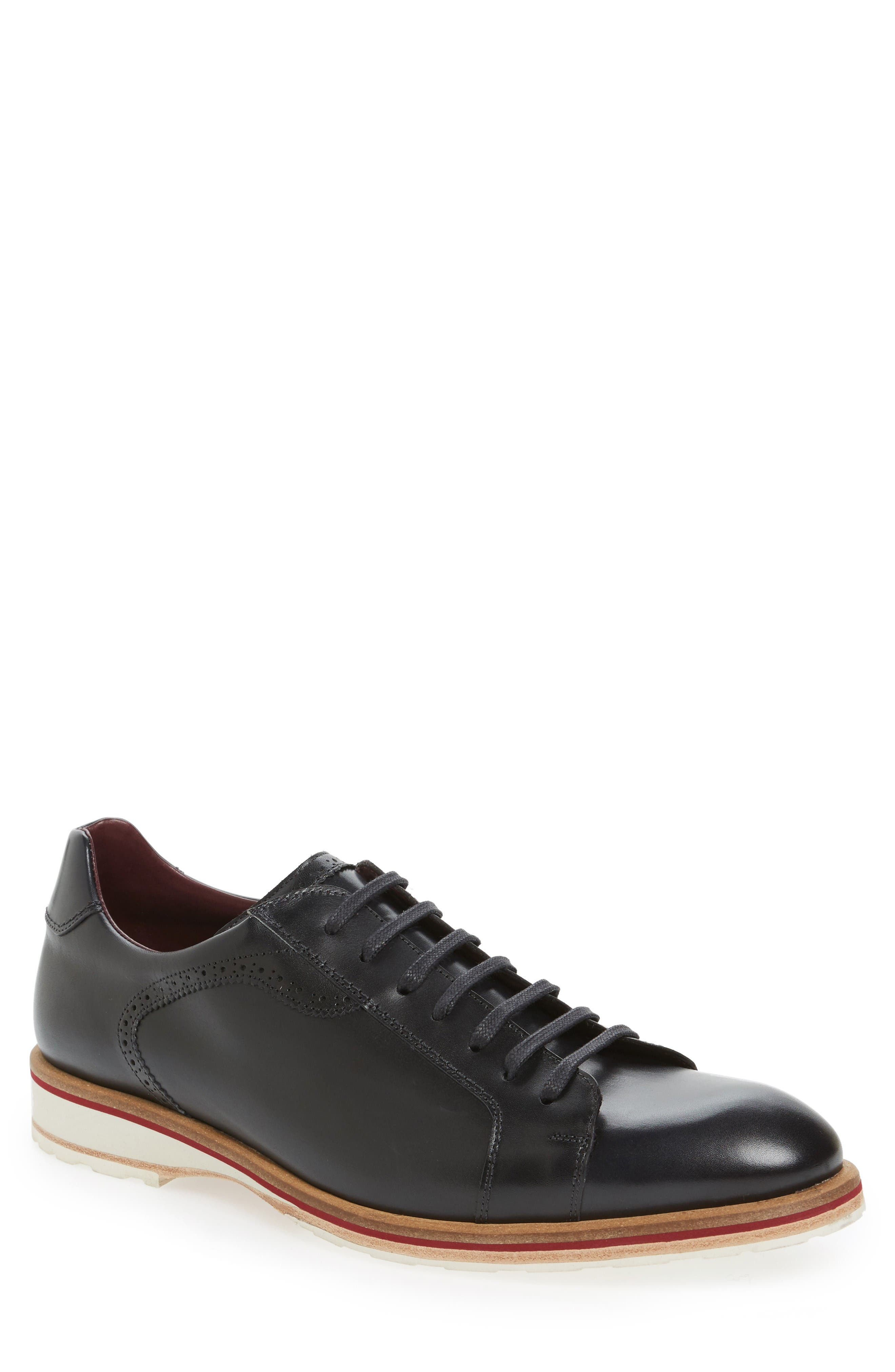 MEZLAN Mendel Plain-Toe Derby in Graphite Leather