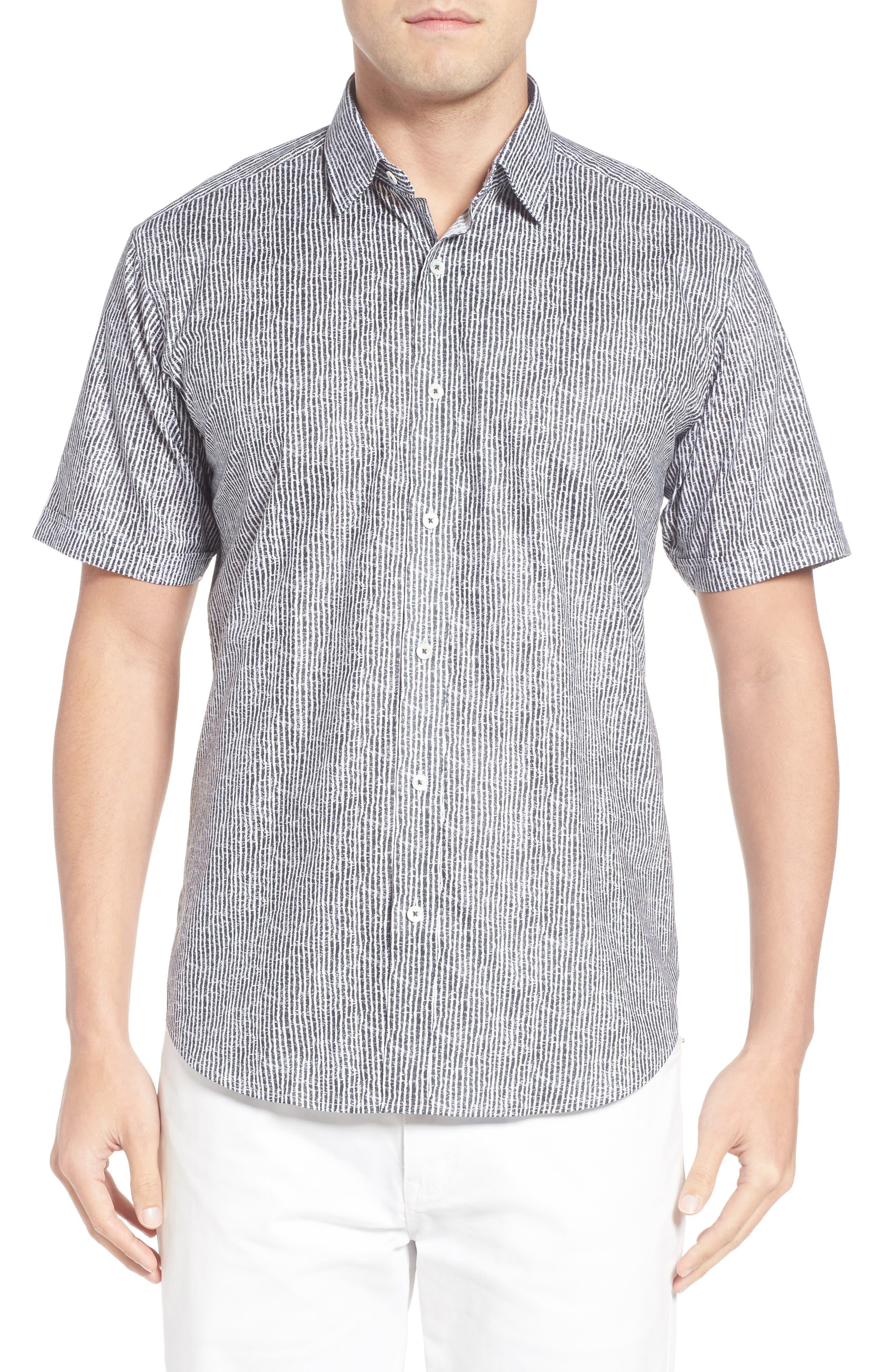Shaped Fit Stripe Sport Shirt,                         Main,                         color, Black
