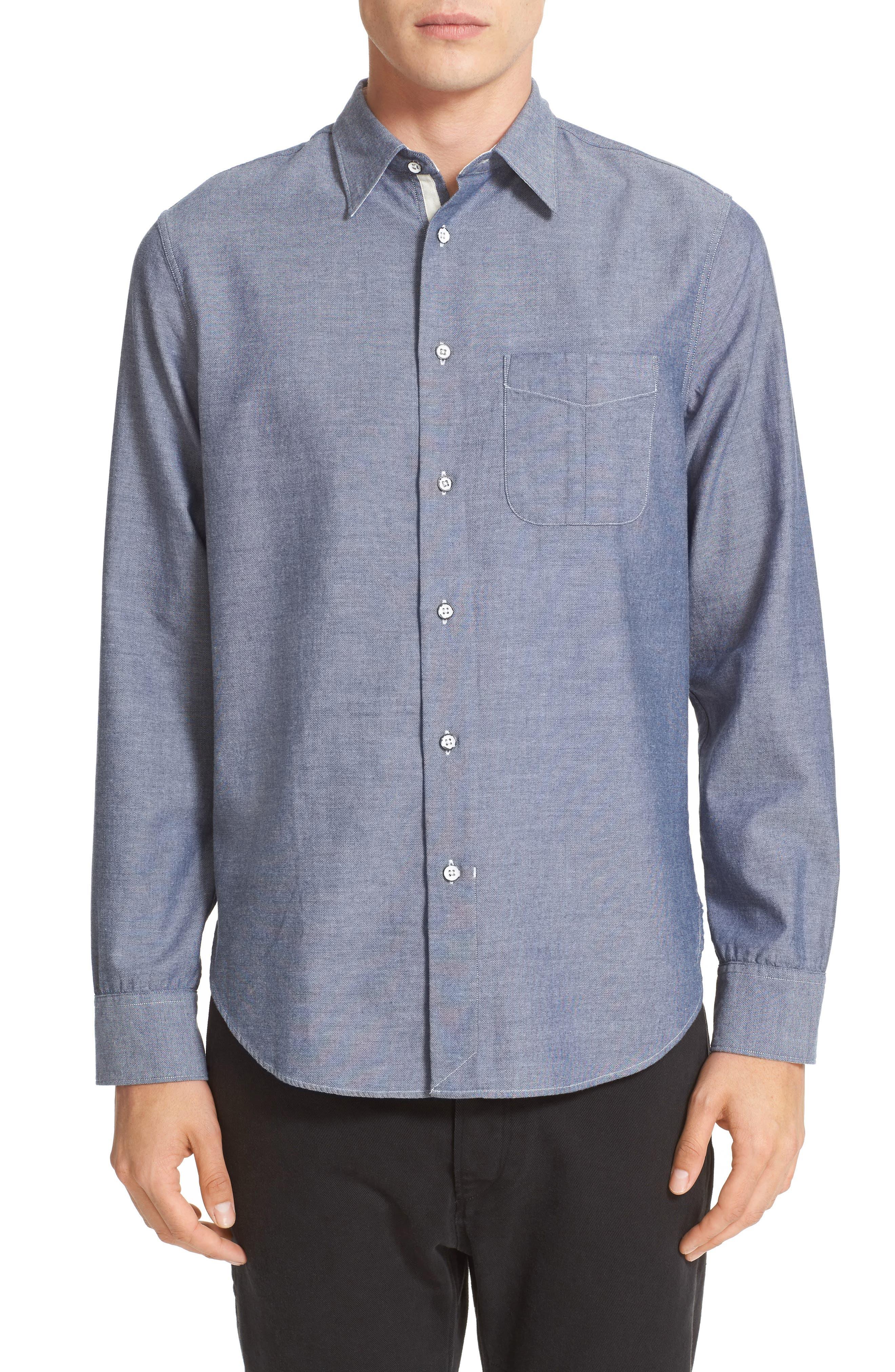 Beach Trim Fit Sport Shirt,                         Main,                         color, Blue/ Navy
