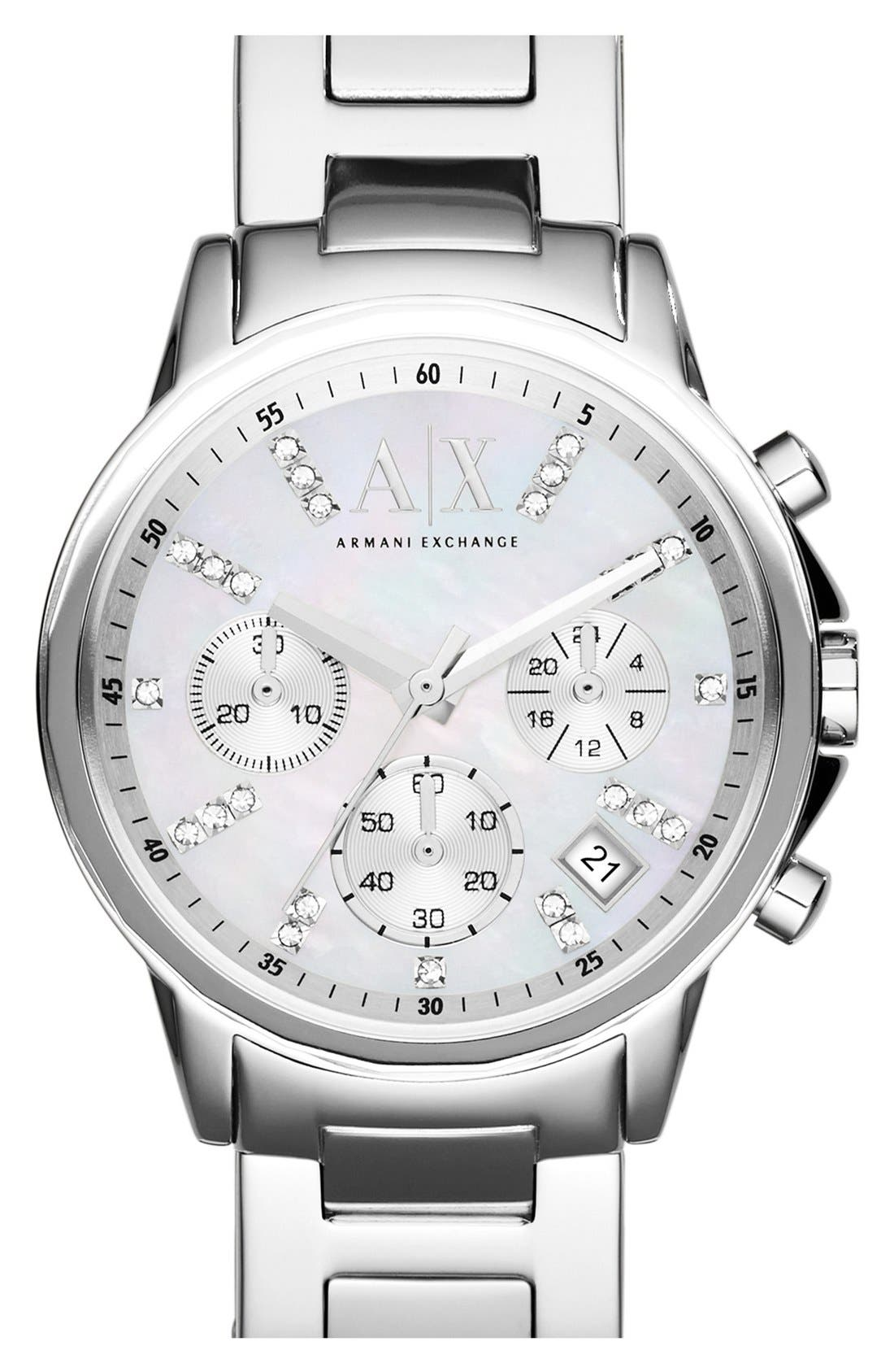 Main Image - AX Armani Exchange Crystal Marker Chronograph Bracelet Watch, 35mm