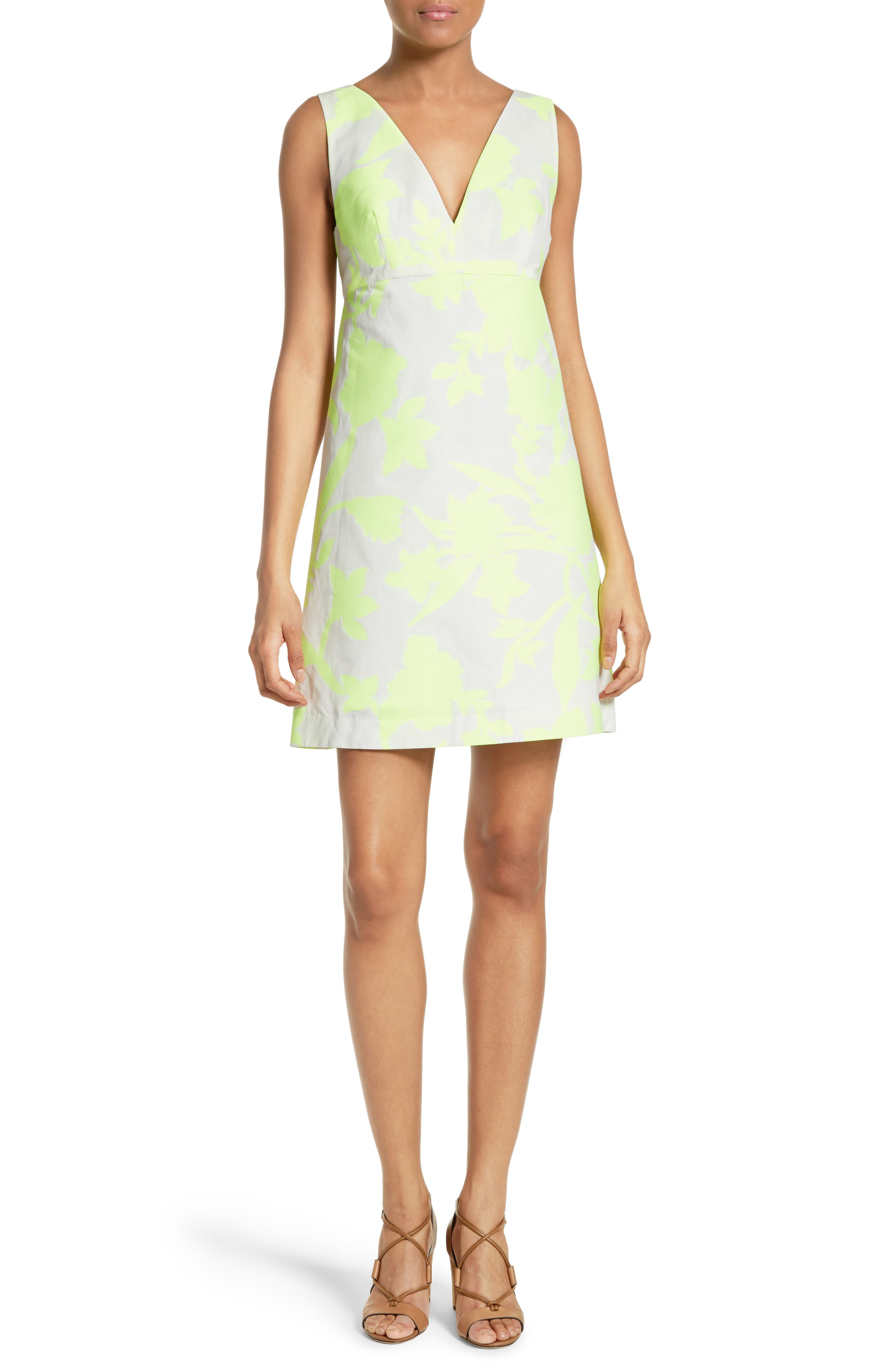 Milly Floral Jacquard A-Line Minidress