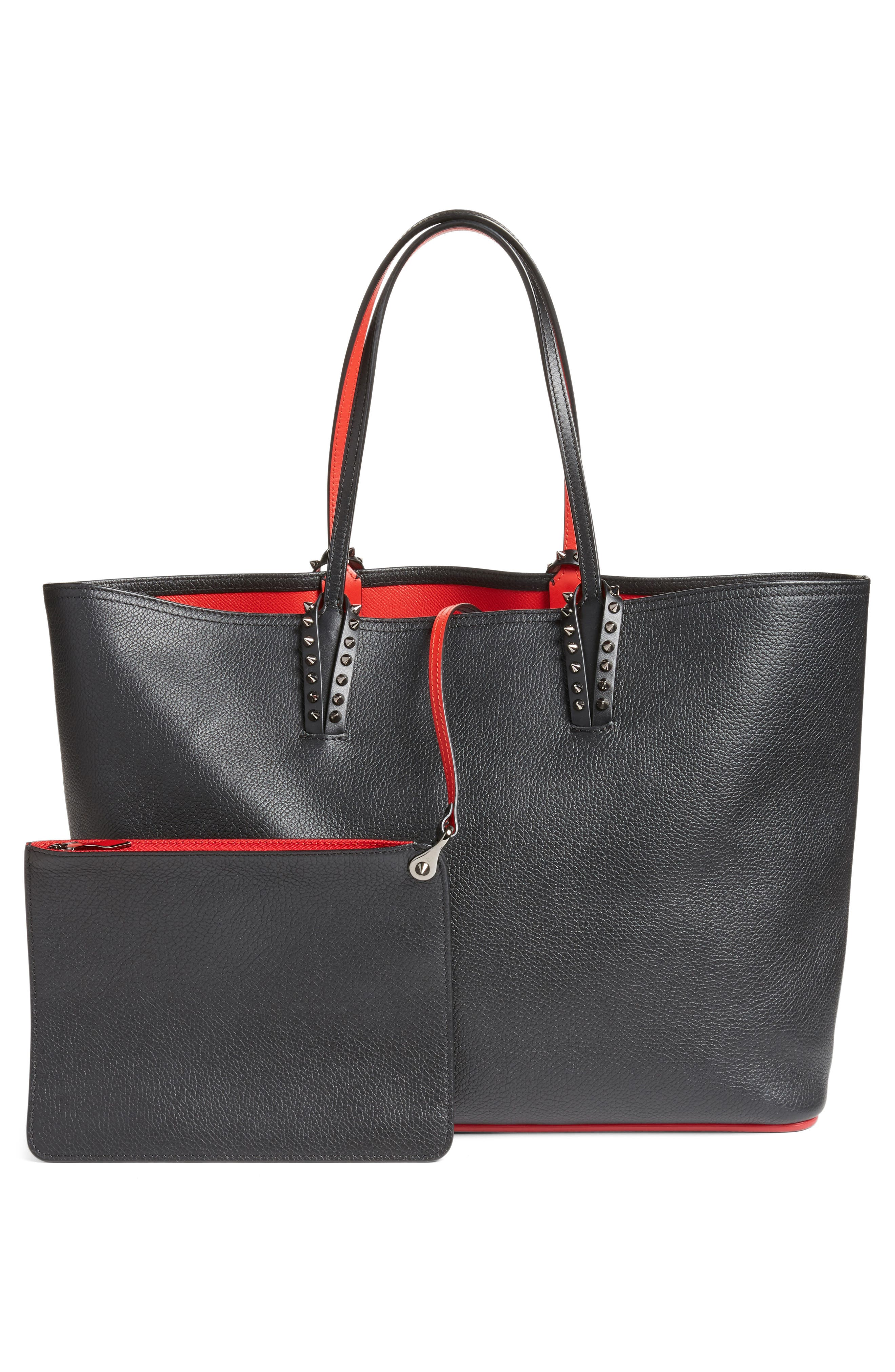 Cabata Calfskin Leather Tote,                             Alternate thumbnail 3, color,                             Black/Black